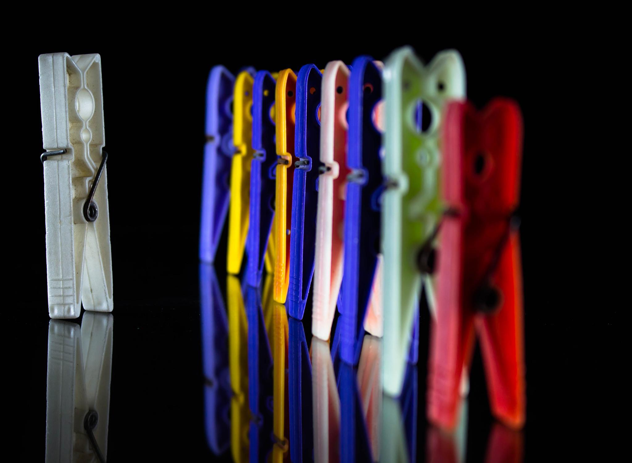 Army of clothespins by Ashraf Sabbah
