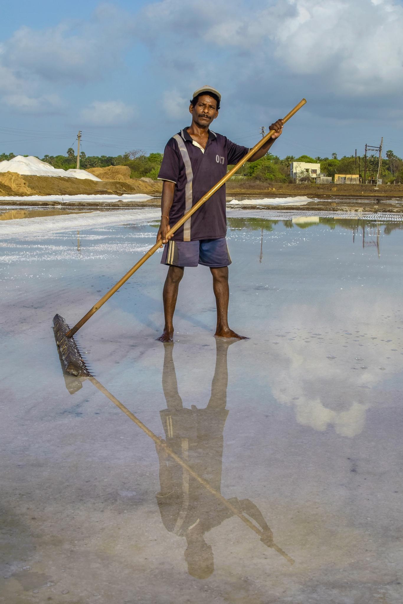 Photo in People #salt pans #salt #salt industry #labrorer