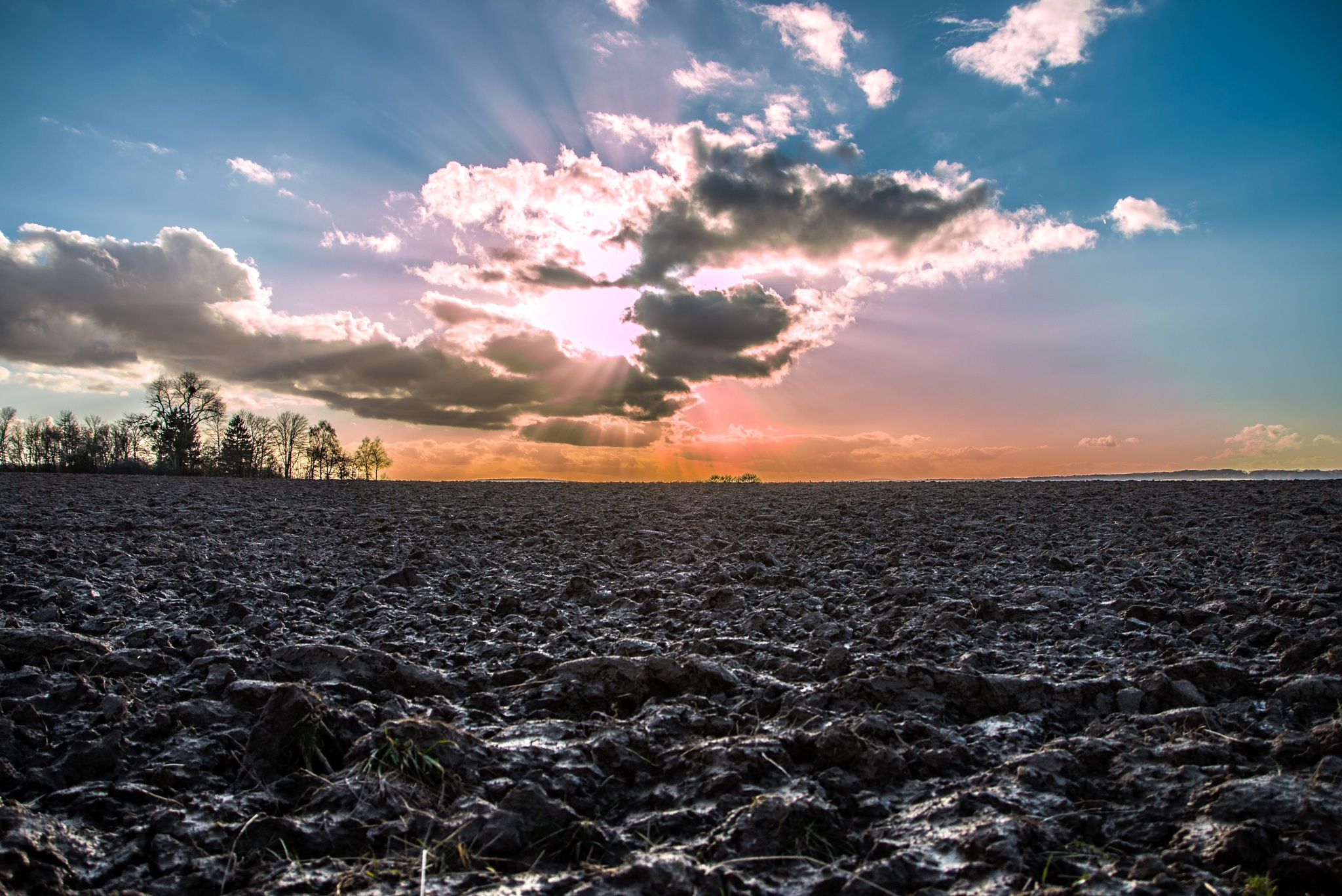 Sunset on muddy fields - Hollenfels - Luxembourg by Chamkhi Jamil