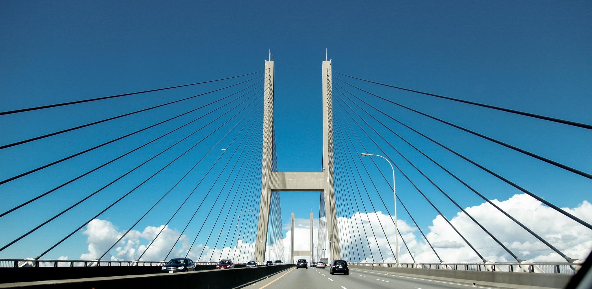 bridge to the sky Alex Fraser Bridge Vancouver BC by Walksfar1