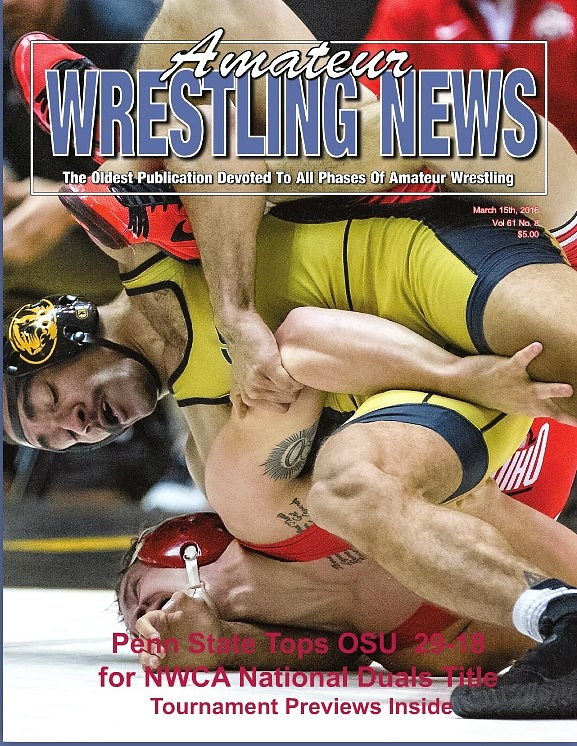March 2016 Cover of Amateur Wrestling News by Mark Lundy