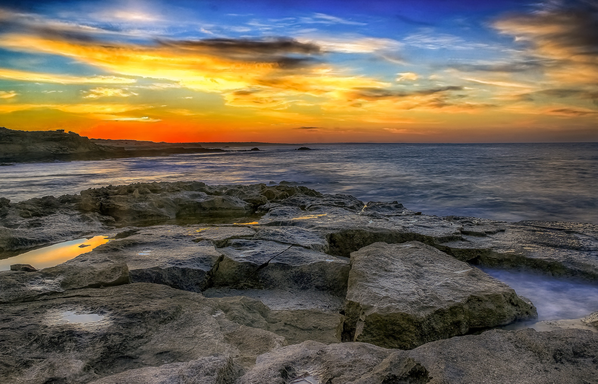 HDR Seascape At Sunset. by Omar AL-NAAS