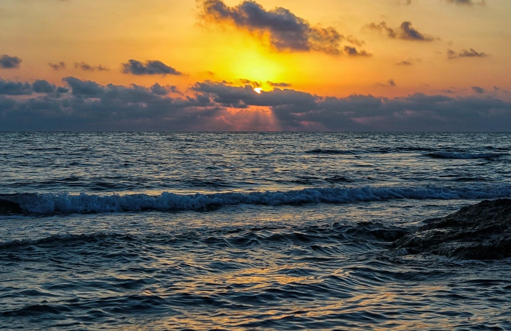 Seascape At Sunrise. by Omar AL-NAAS