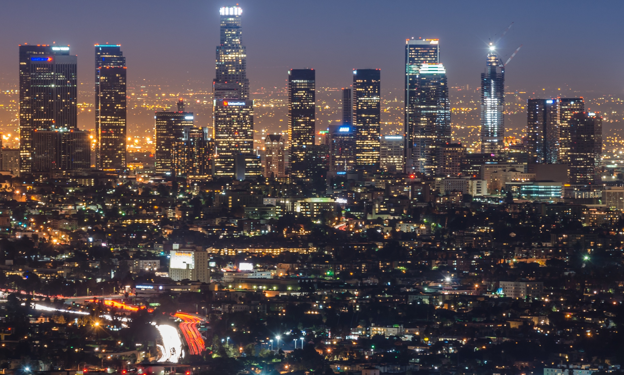 Downtown Los Angeles at night by clucian