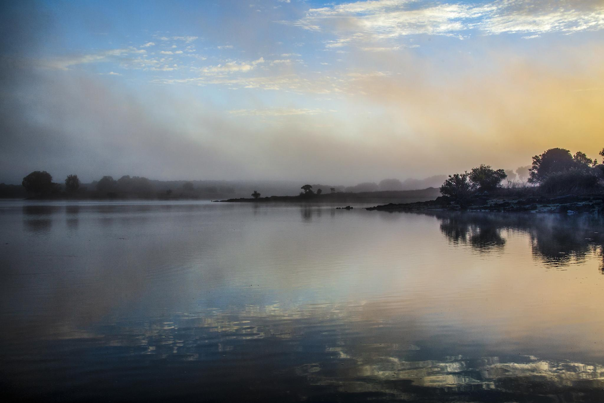 Photo in Landscape #reservoir #dawn #mist #fog #sun #evora