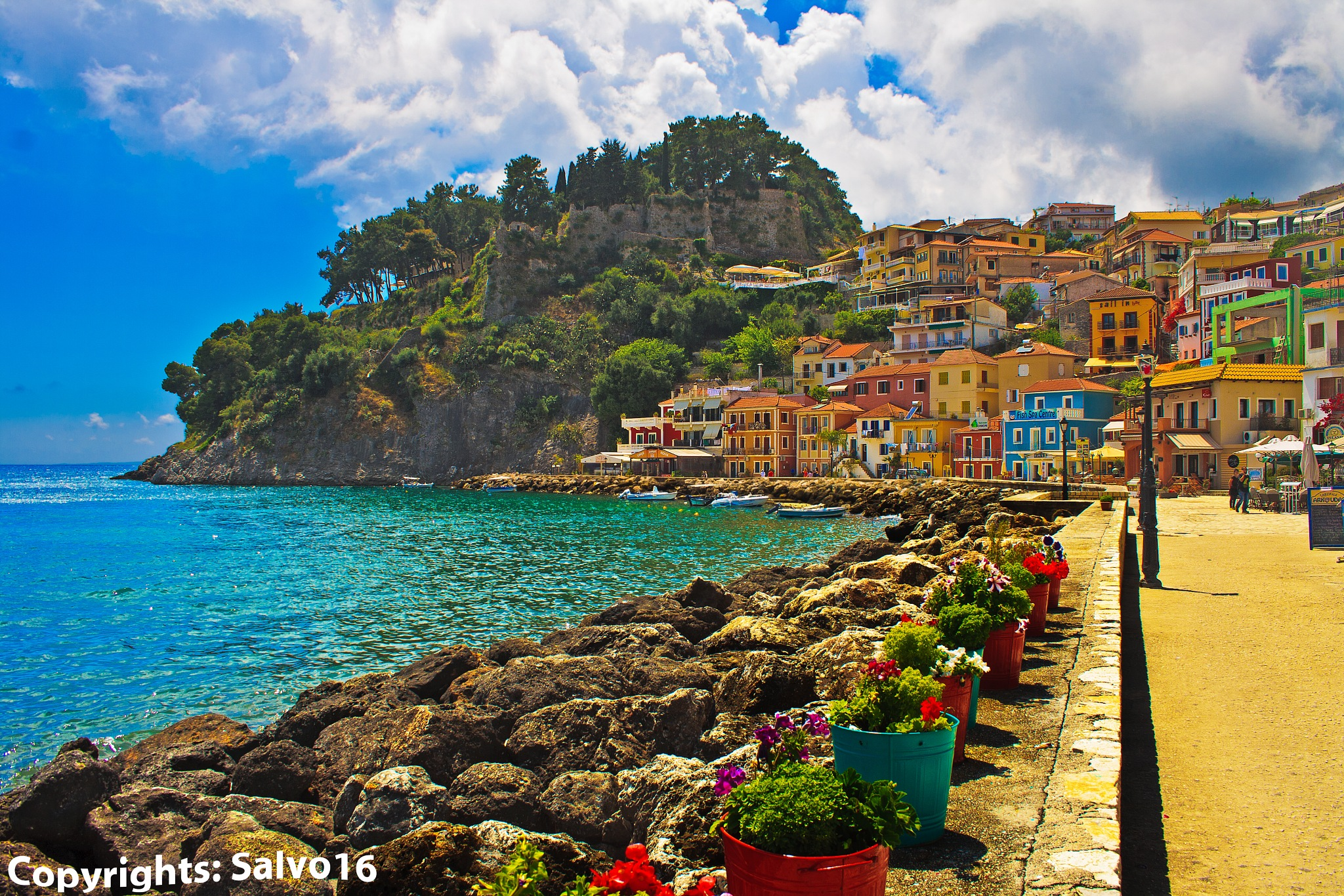 Photo in Cityscape #village #greek village #epire #seascape #cityscape #mediterranean sea #flowers #street #colors #colored #contrasted #typical