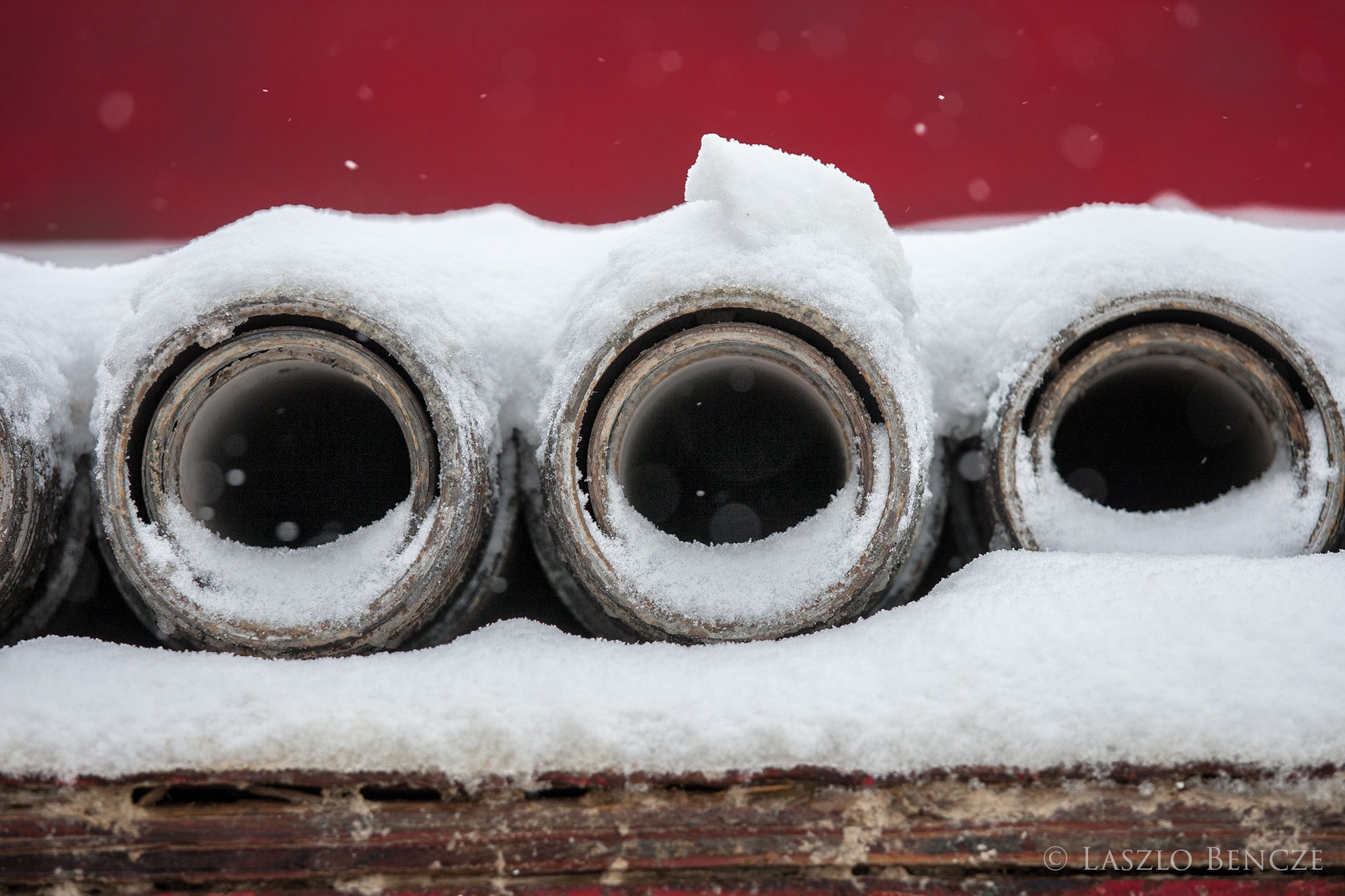 Drill Pipe in Snow by Laszlo Bencze