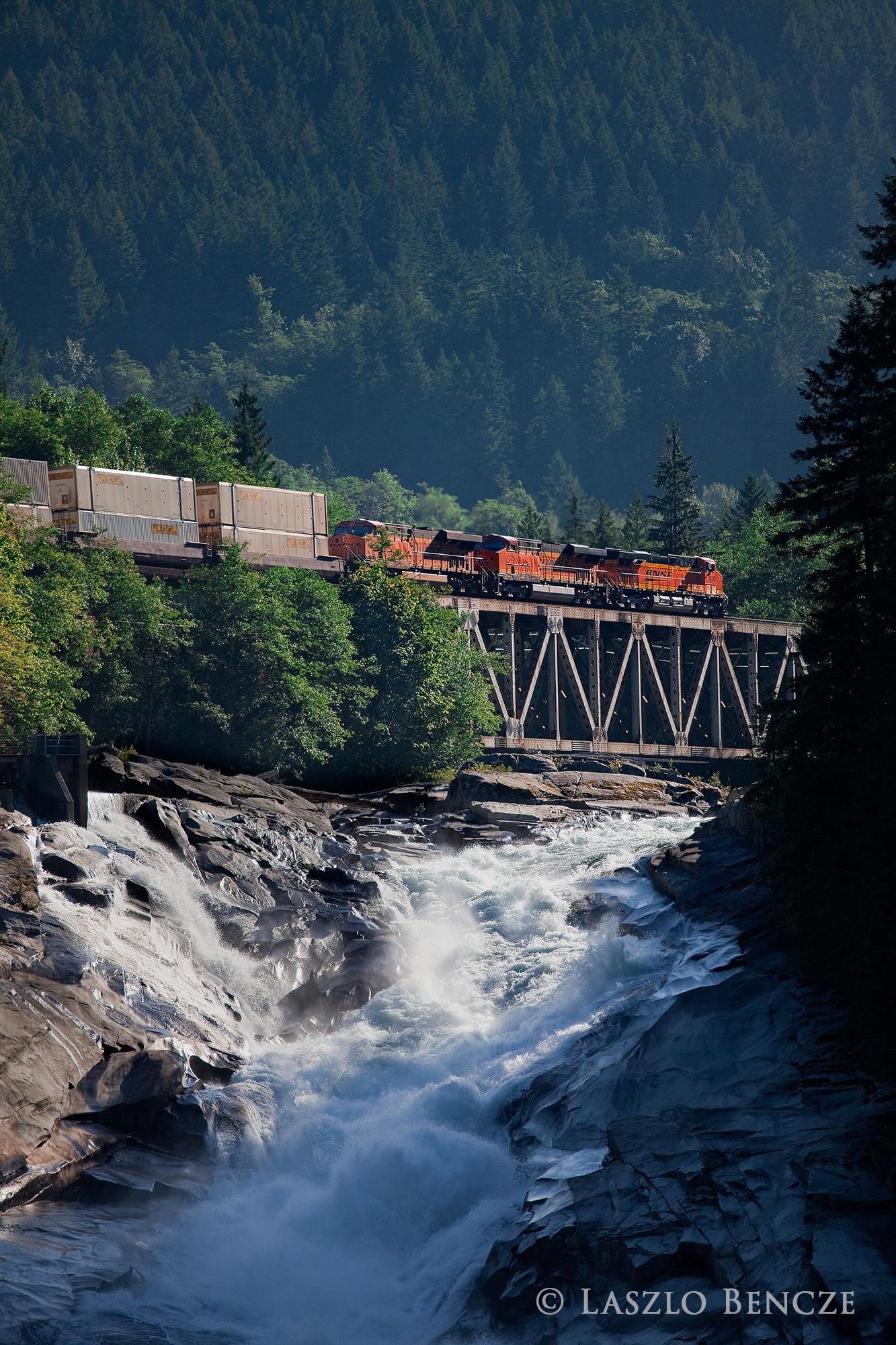 Train Over Sunset Falls by Laszlo Bencze