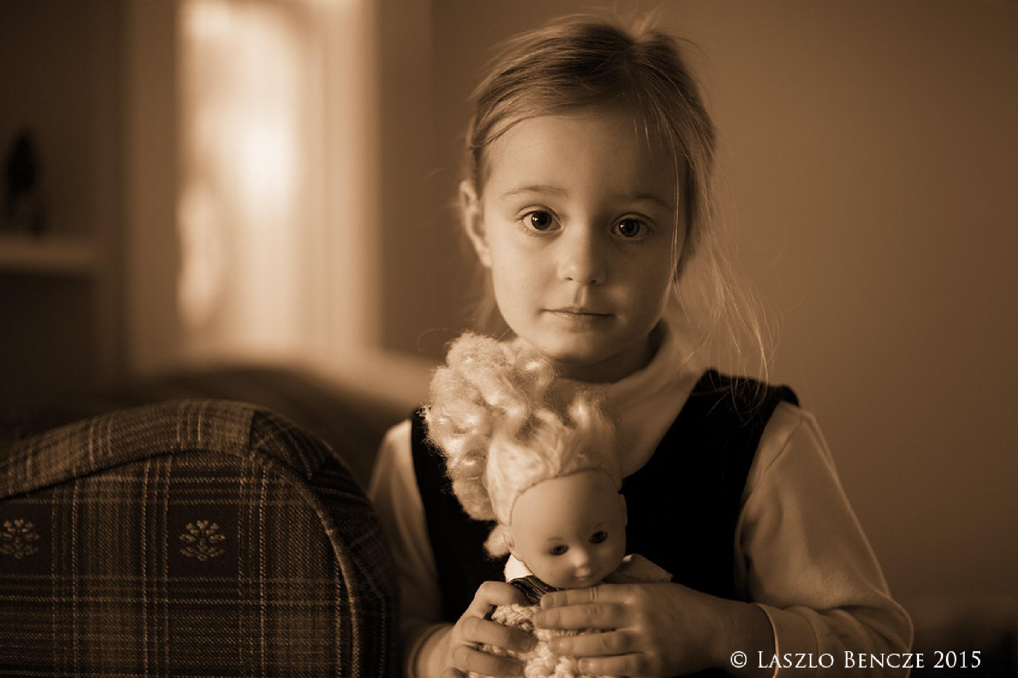 Girl with Doll by Laszlo Bencze