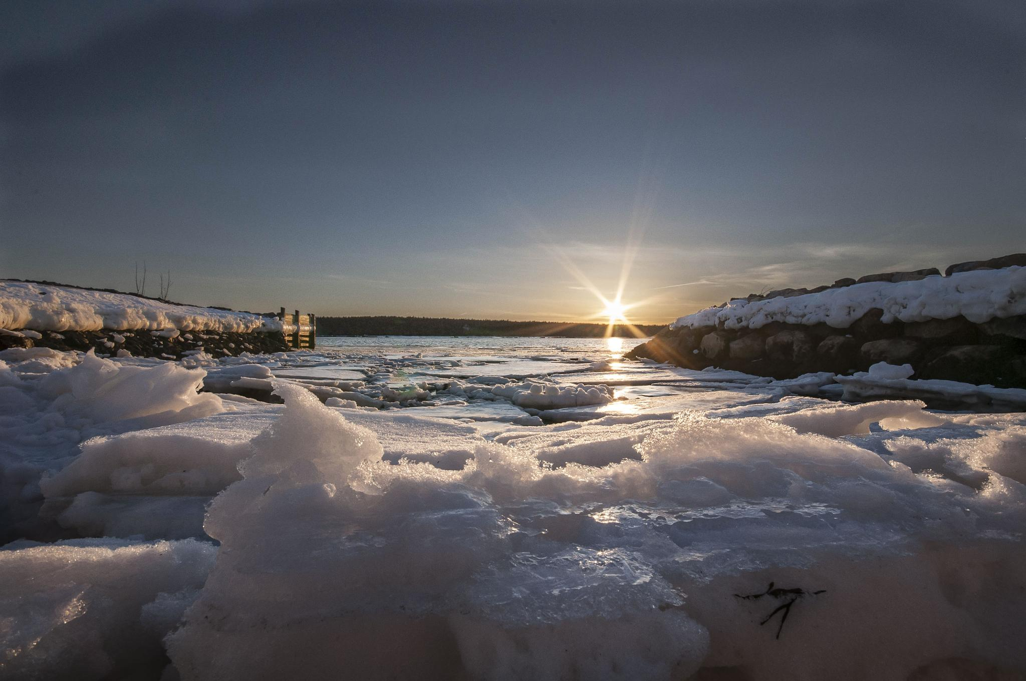Photo in Landscape #sunset #seascape #landscape #ice #iced #snow #spring