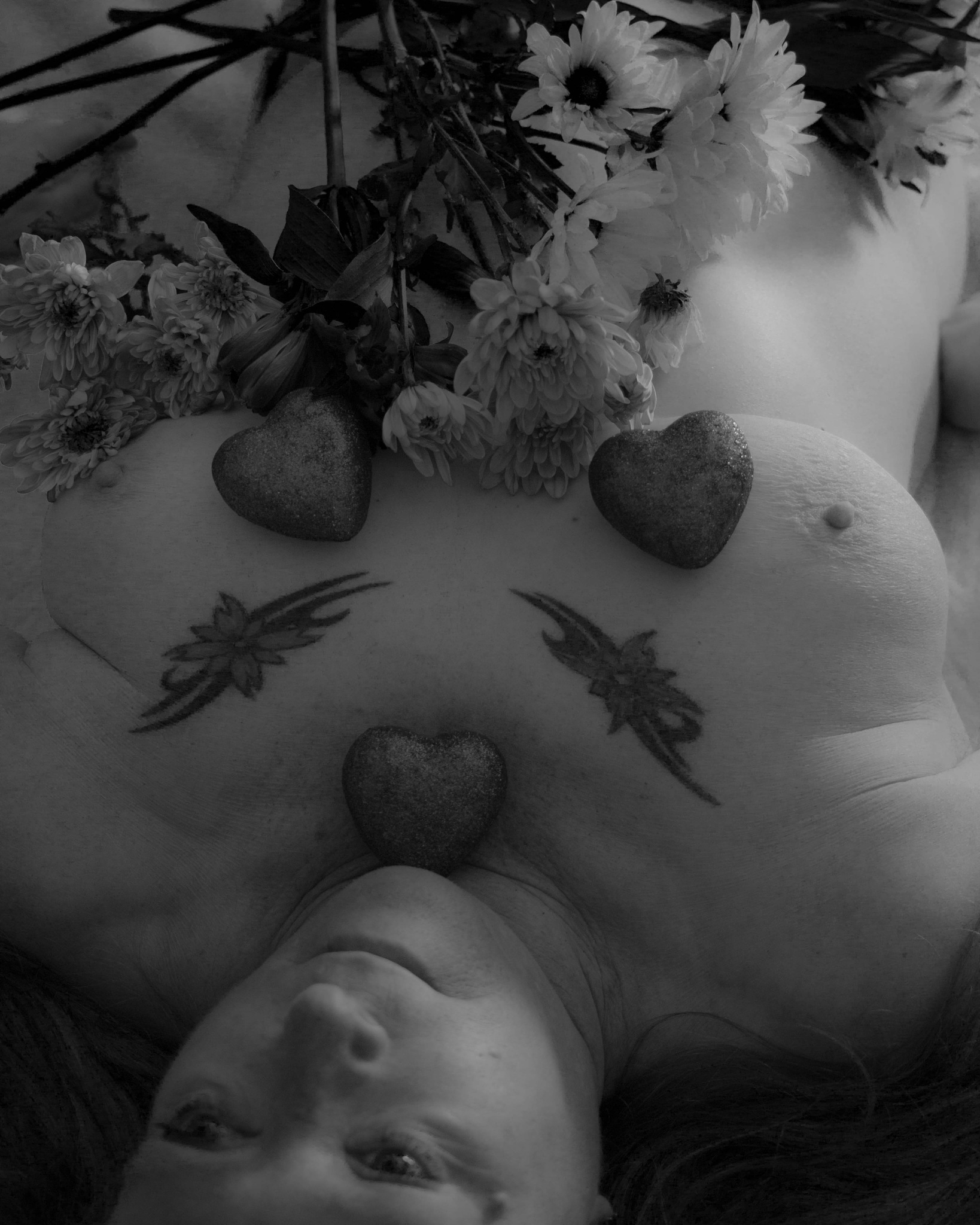Photo in Nude #sexy #mature #breast #flowers #black and white