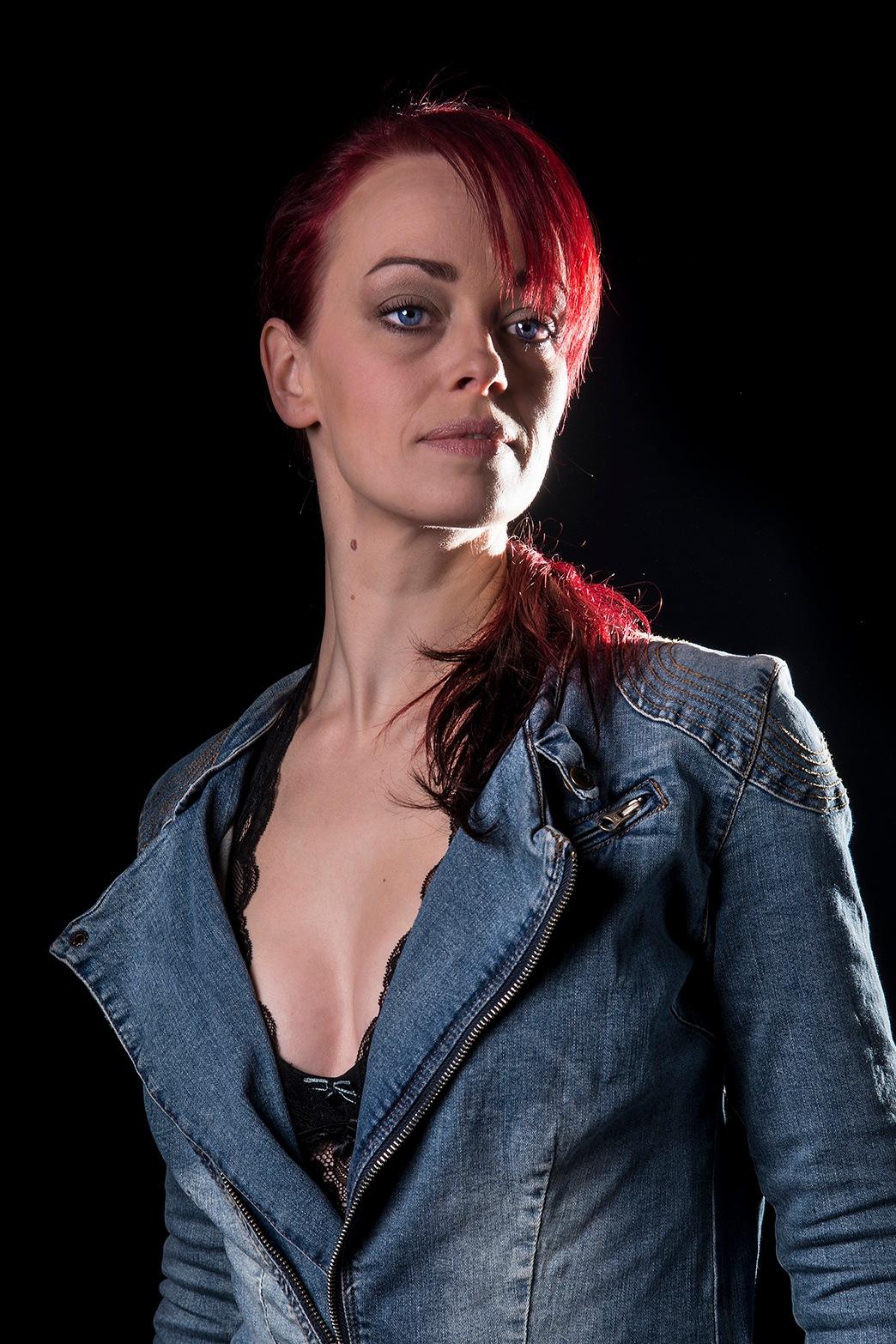 Blue eyed Redhead in Jeans Suit by Edward Draijer - EGD Fotografie