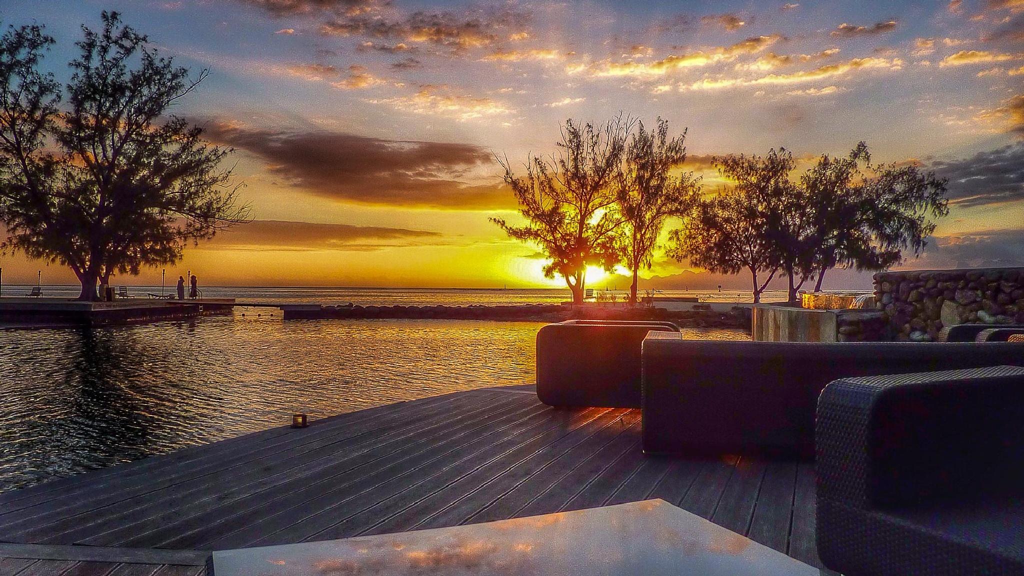 Sunset on Tahiti by Nikolas Muehlethaler