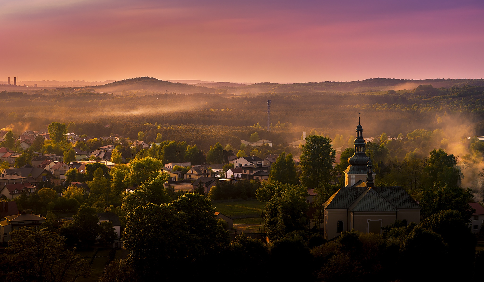 Sunset over village. by jacula