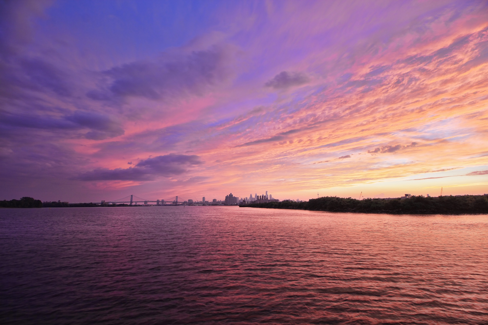 Sunset on the Delaware River by Ultravphotography