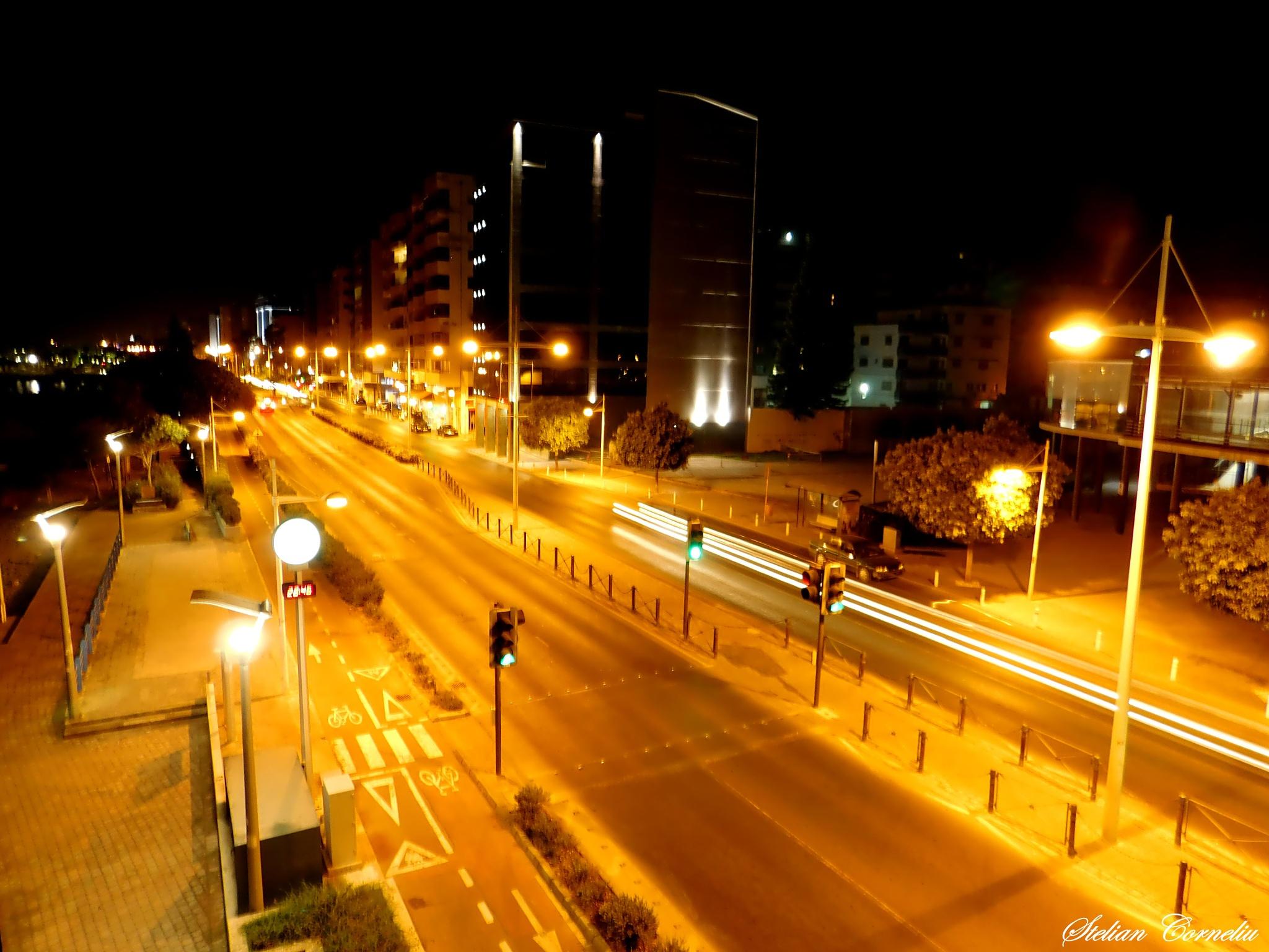 Night time street Limassol Long Exposure  by Stelian Corneliu