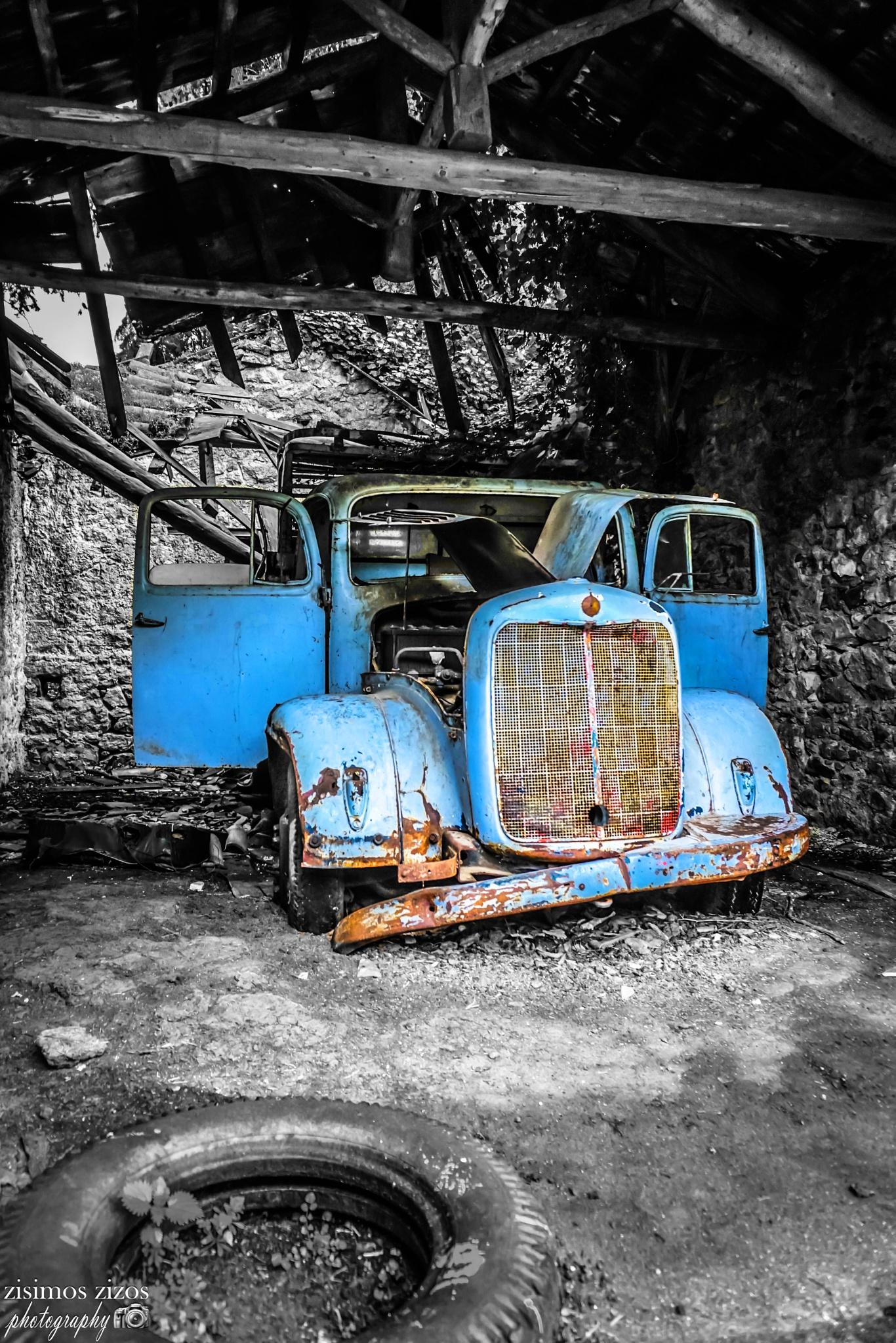 Blue truck by Zisimos Zizos