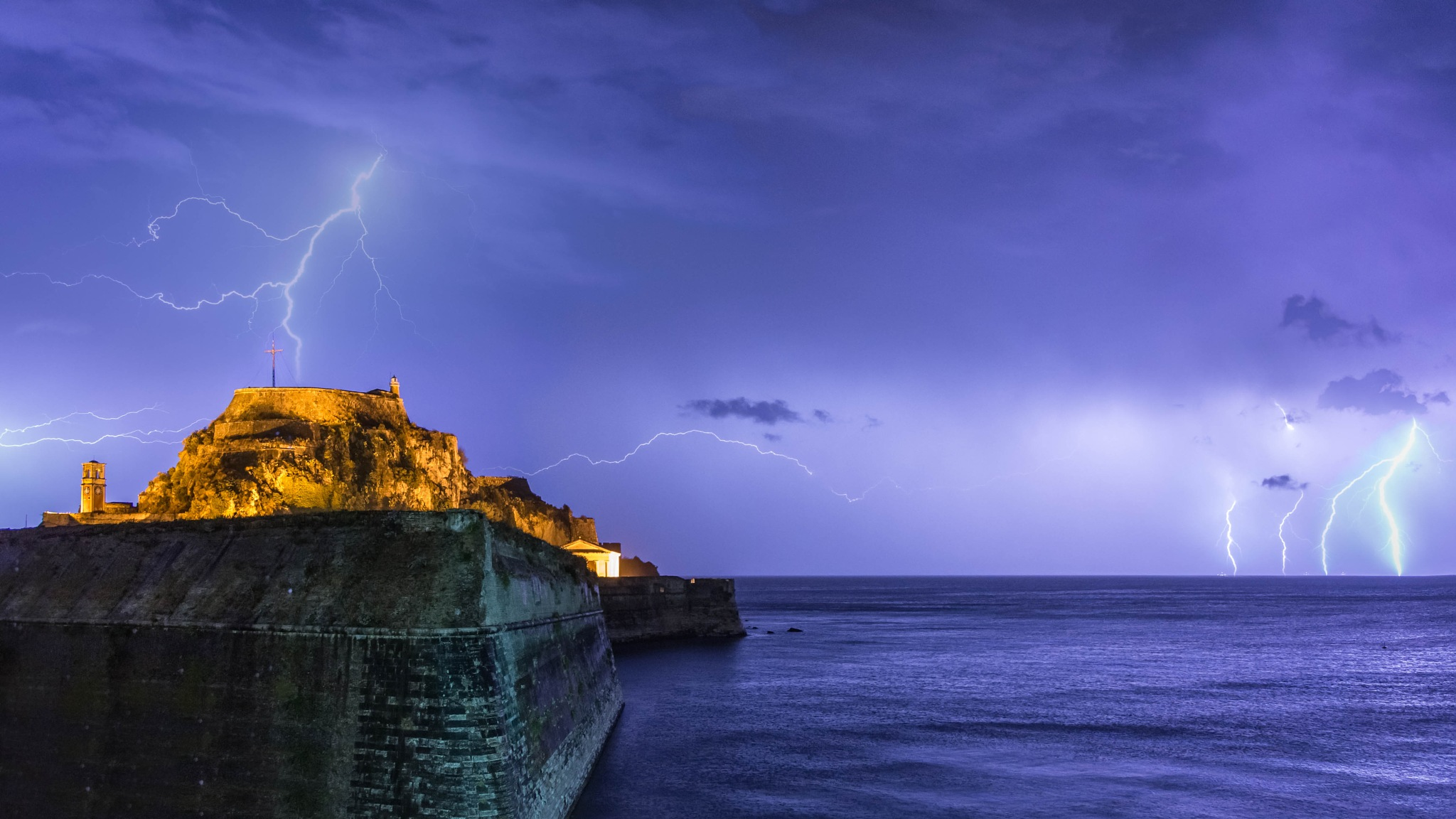 Thunderstorm Lightnings  - Corfu Fortress by Stylianos lavranos