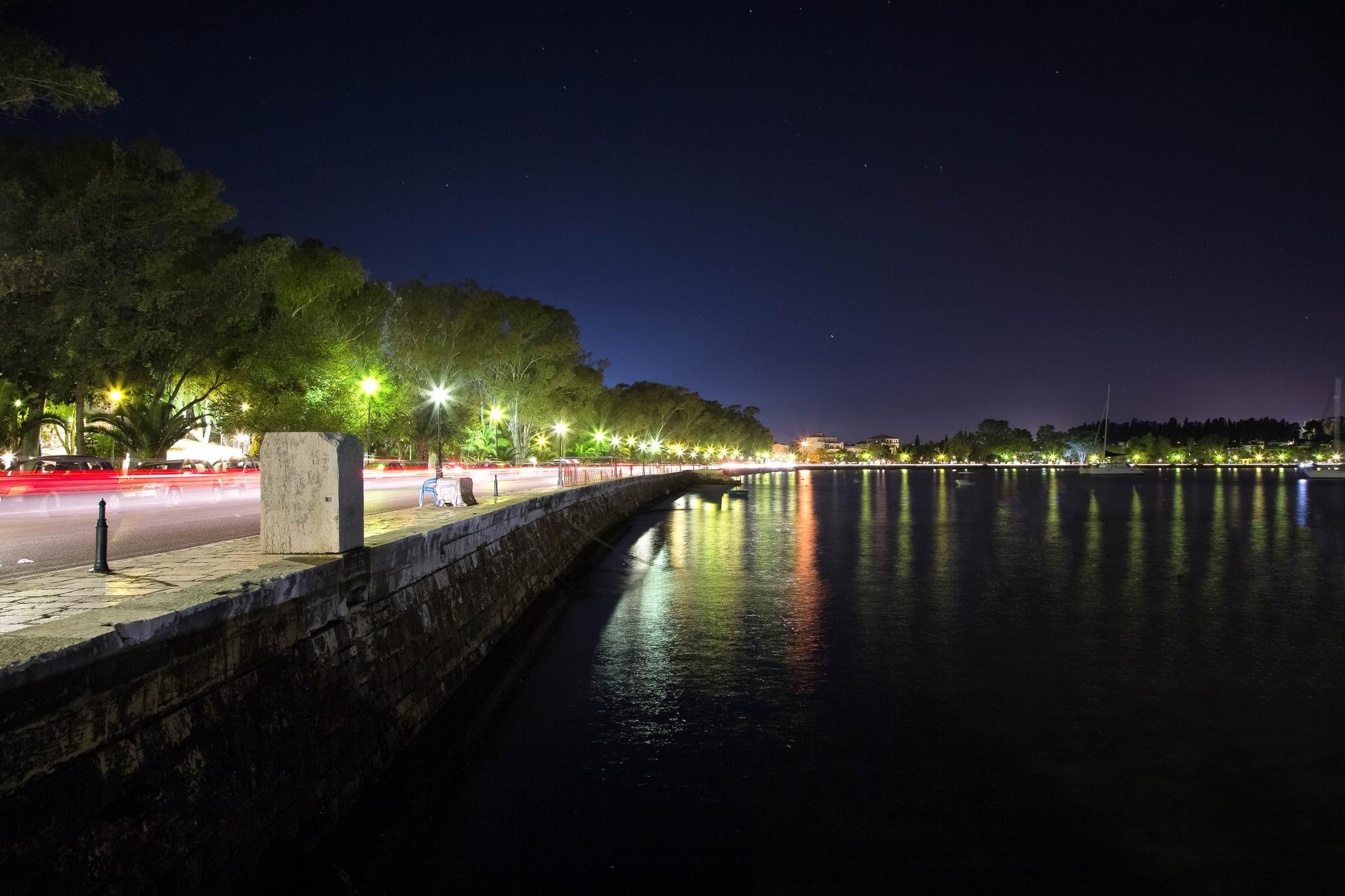 Garitsa bay Light Trails by Stylianos lavranos