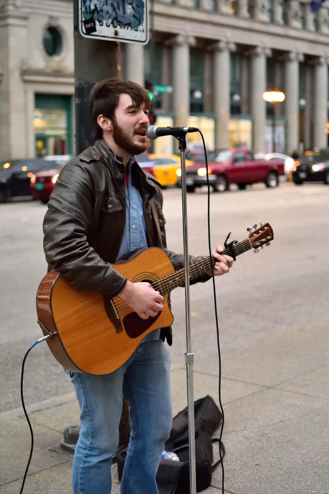 Singer/Musician on Michigan Avenue II by Orlando Fonseca