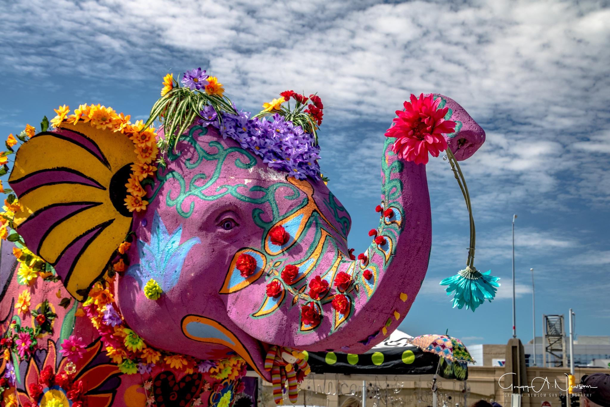 Flower Power Elephant  by Gnewsom324