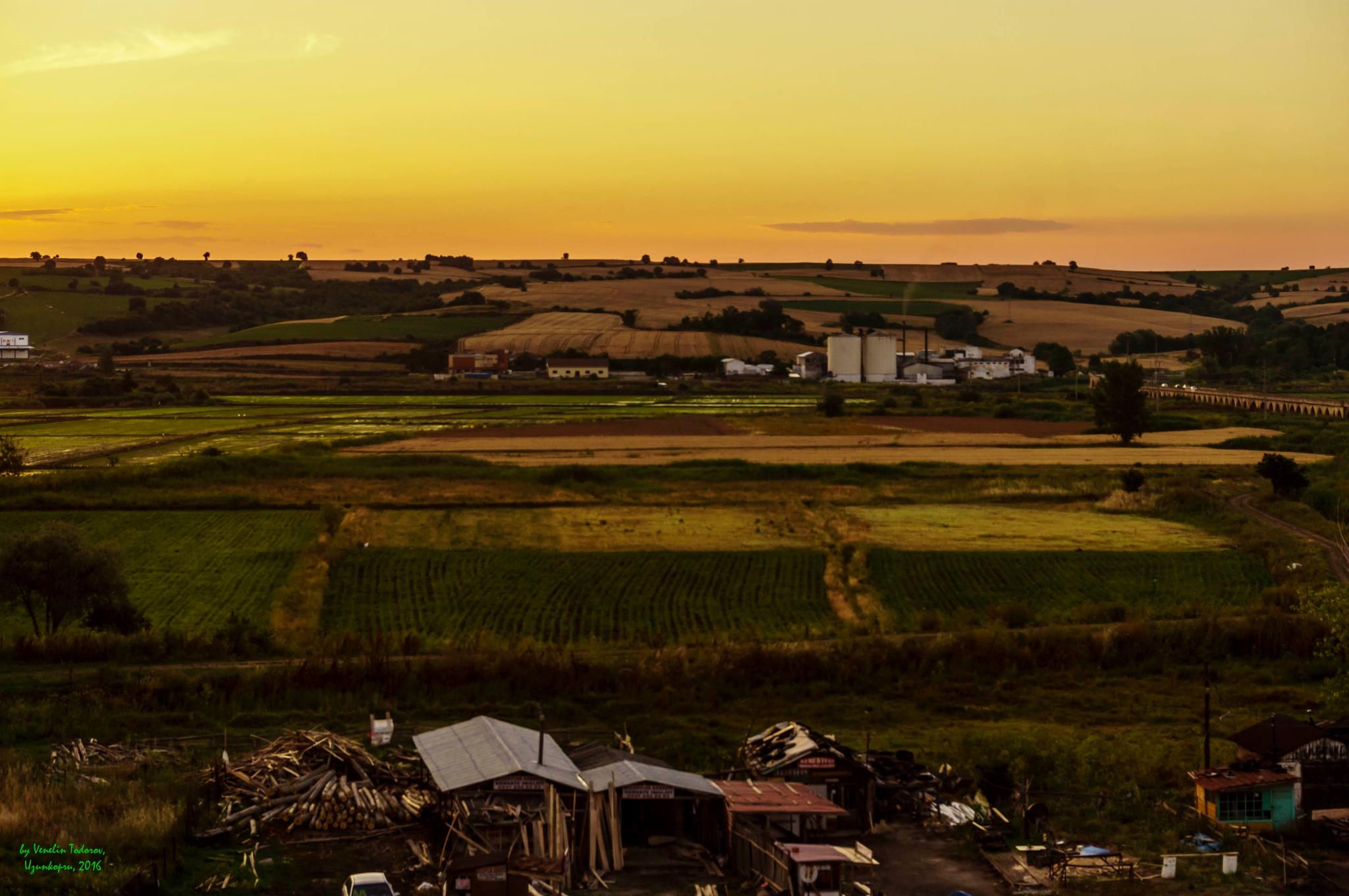 Photo in Landscape #ladscape #river #sunset #rise #fields #bridge #long #trees