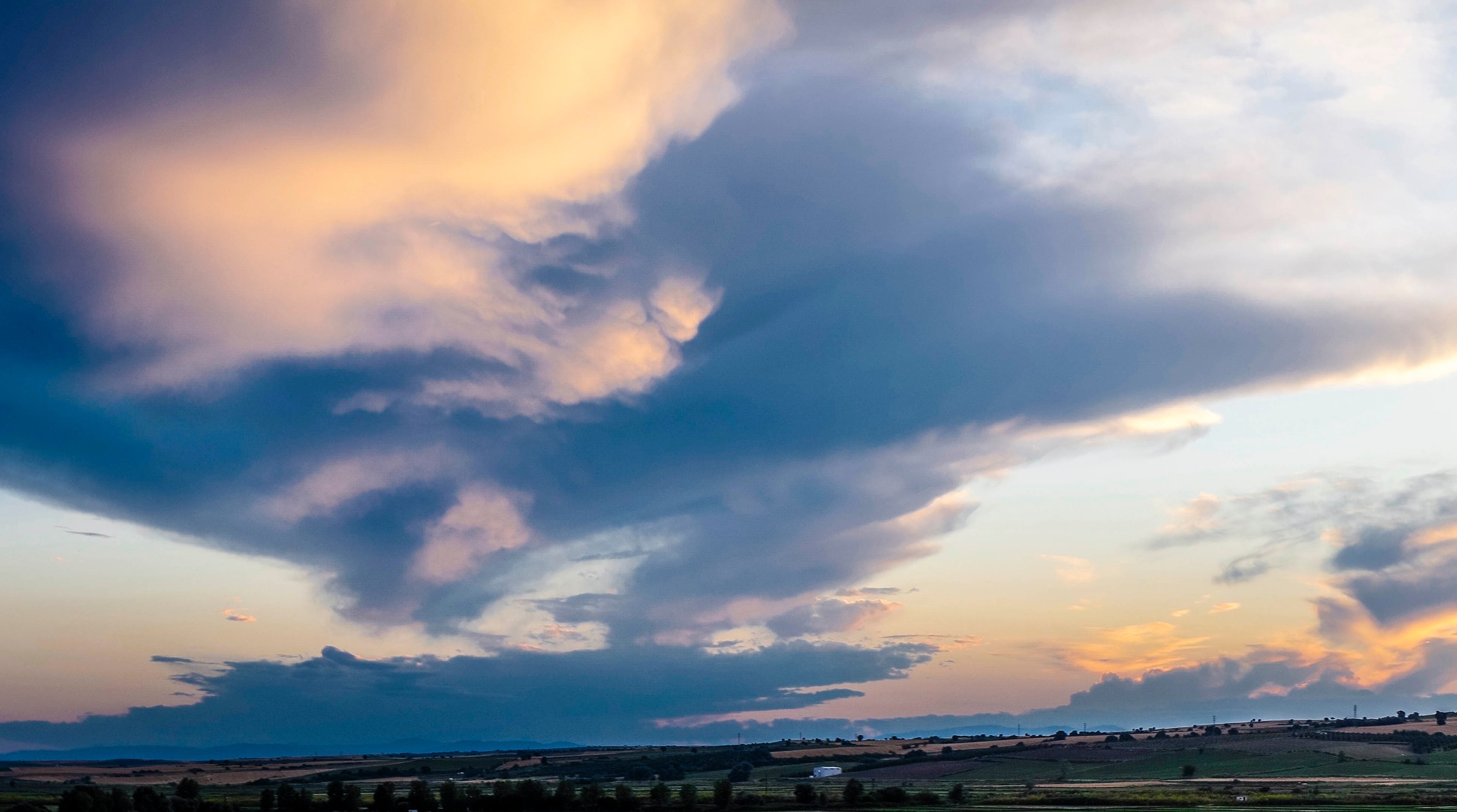 Photo in Landscape #clouds #cloudy #storm #river #fields #trees #landscape #sunset
