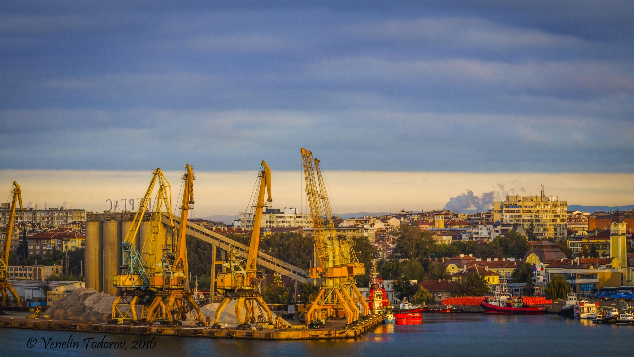 Port of Burgas and town by Venelin Todorov