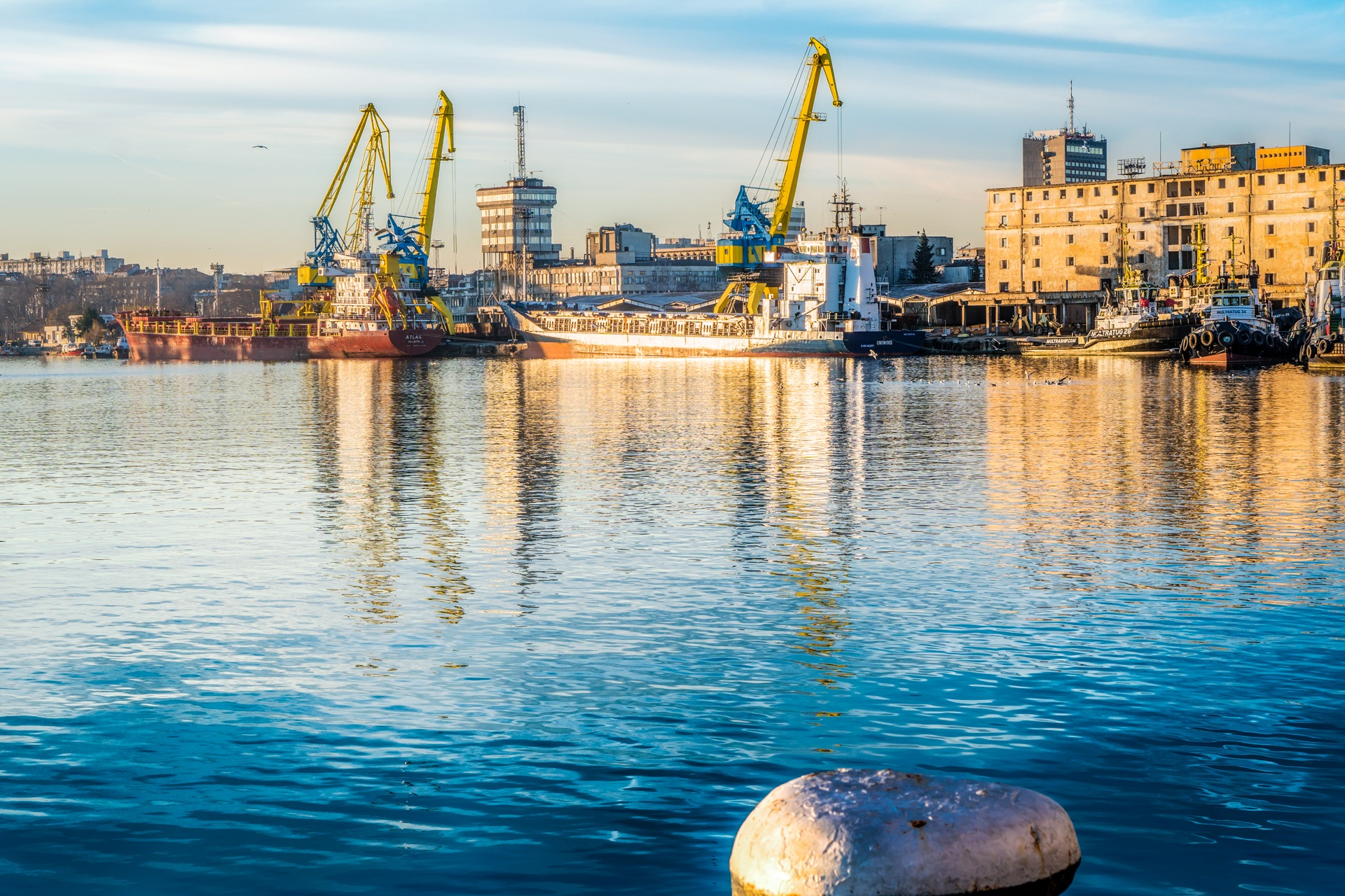 Reflections in the port by Venelin Todorov