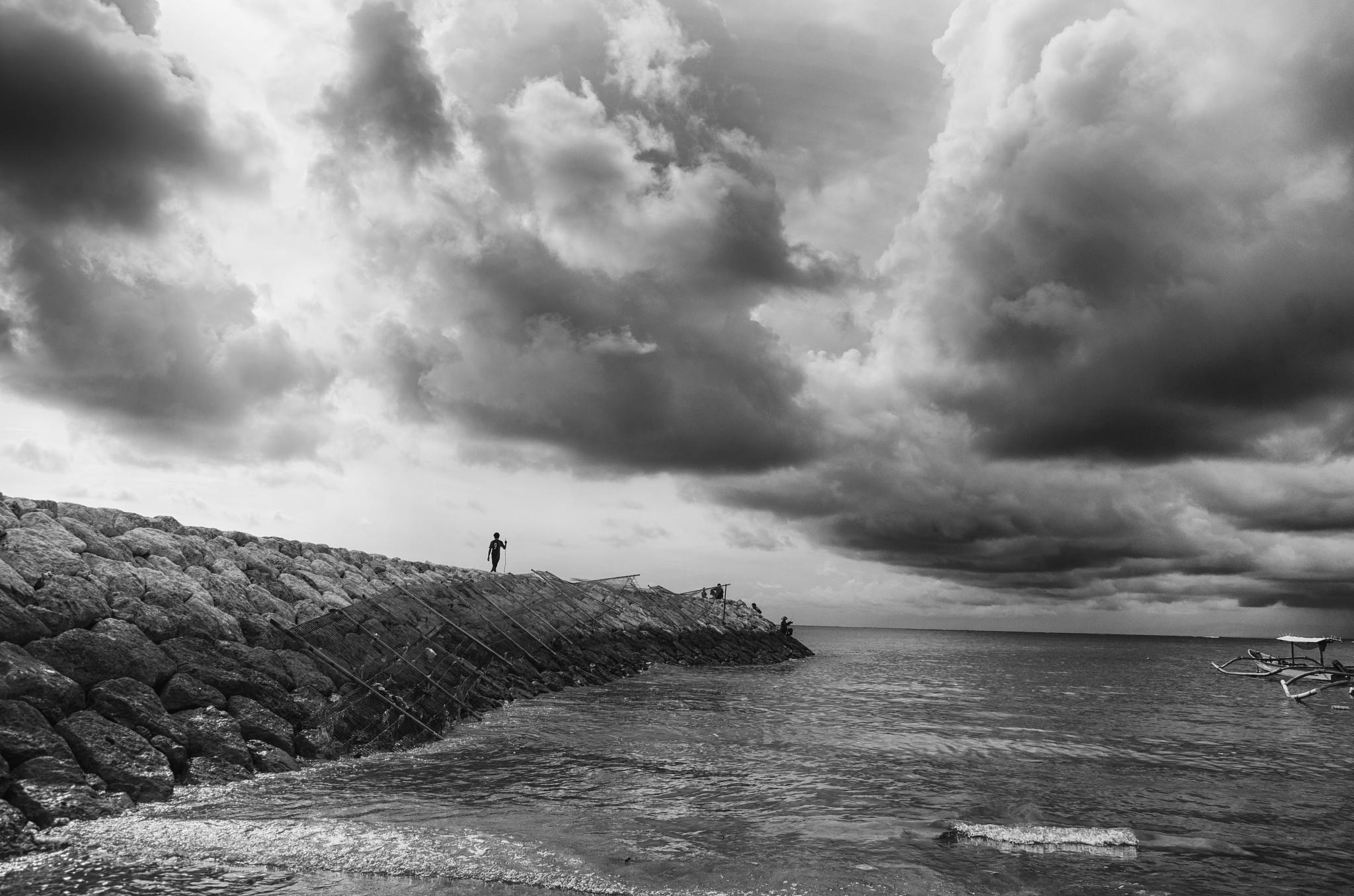 cloudy day over Kuta beach, Bali by nurdinrivai