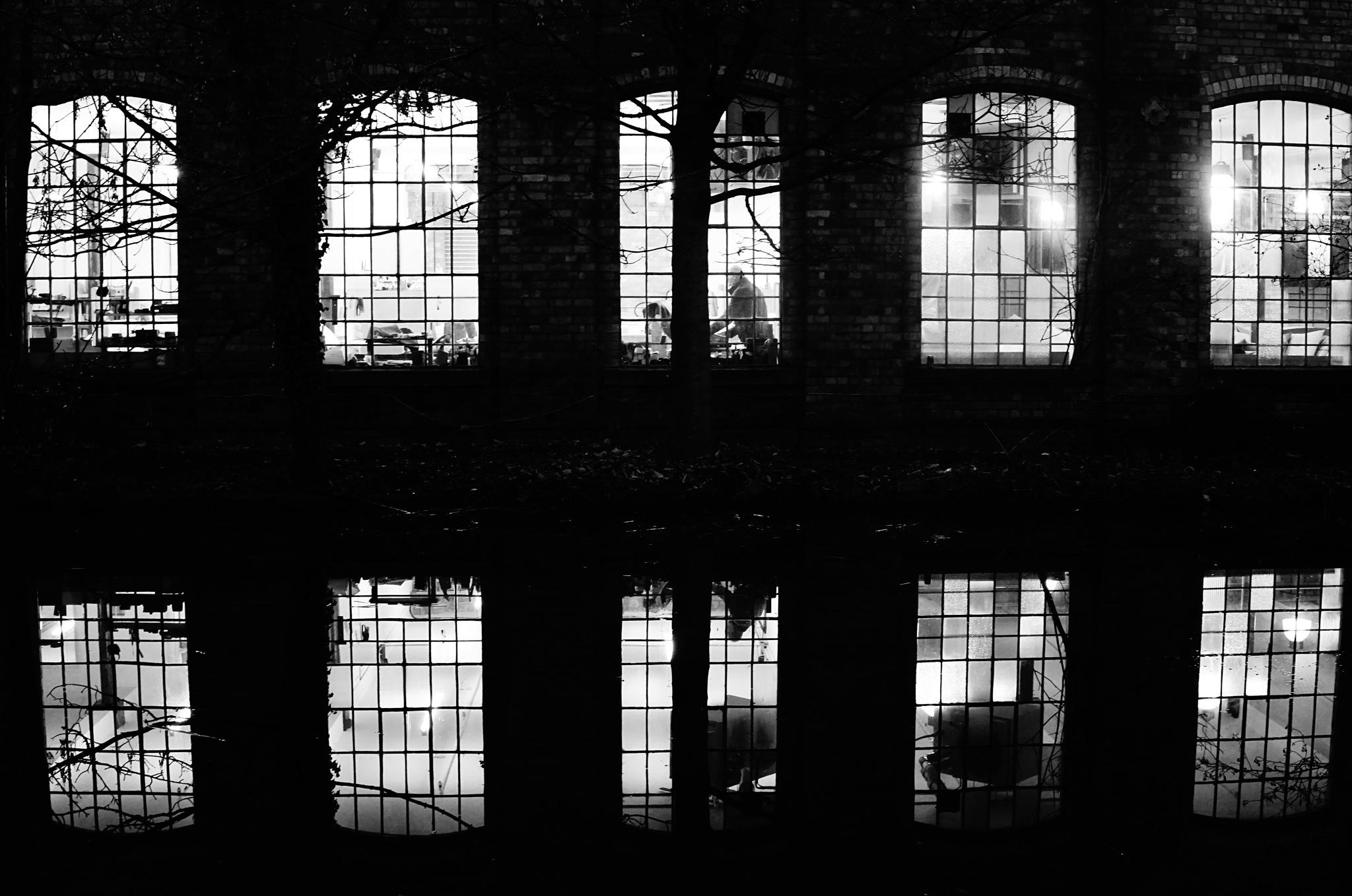 Canal factory reflection by AJ Yakstrangler Andy Jamieson
