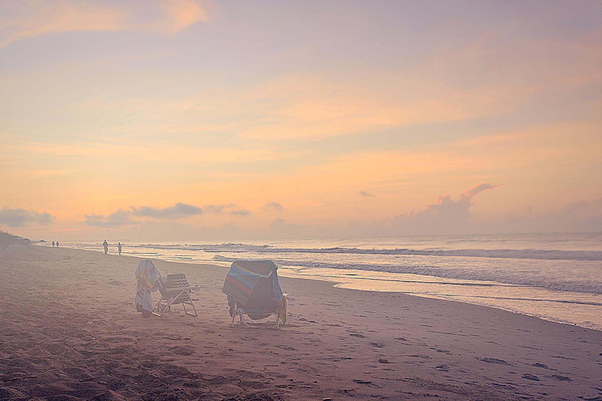 Foggy morning at the Topsail Beach by Mirela Savu