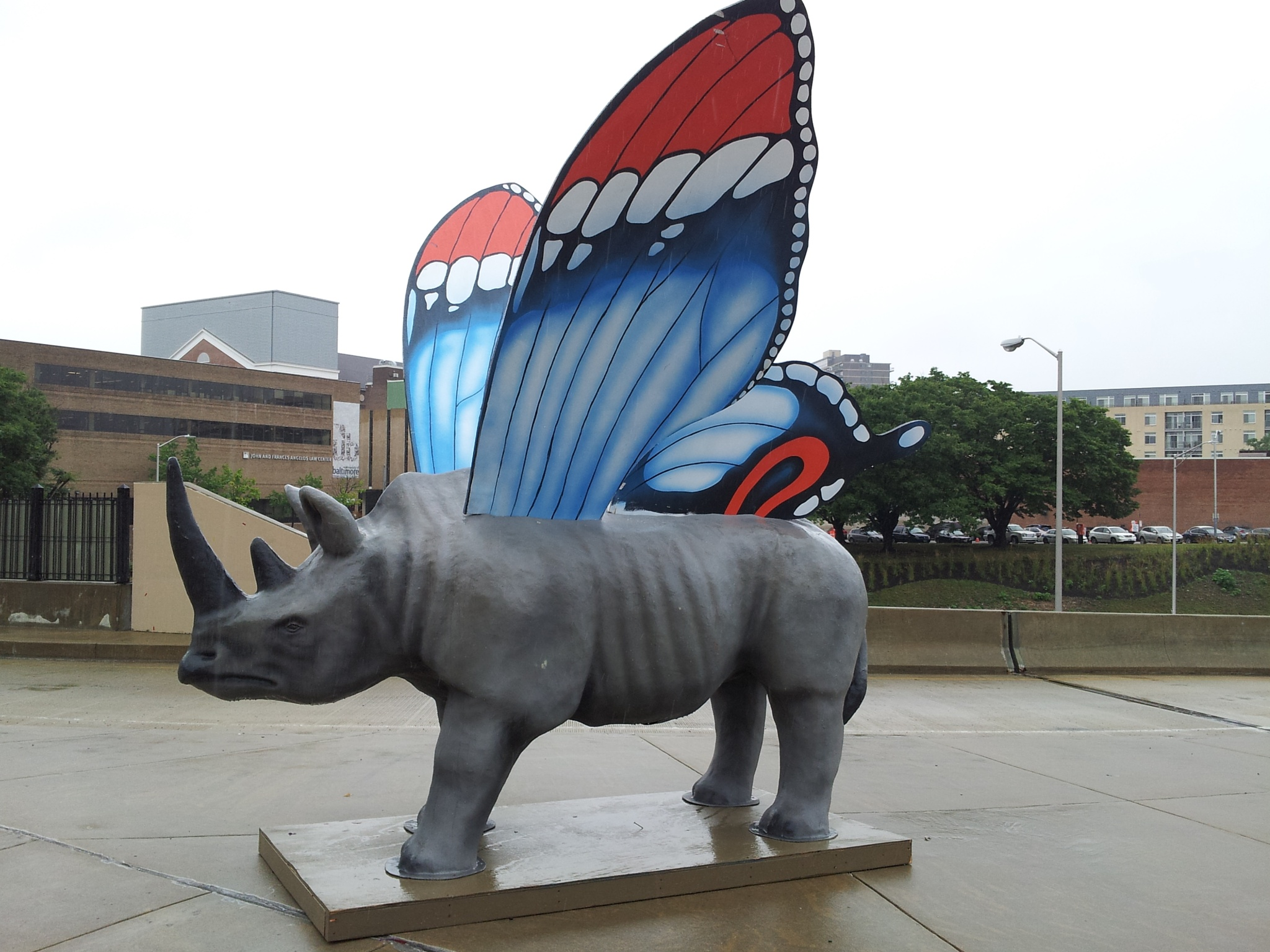 Photo in Street Photography #art #sculpture #baltimore #rhinoceros #flying rhinoceros #public art
