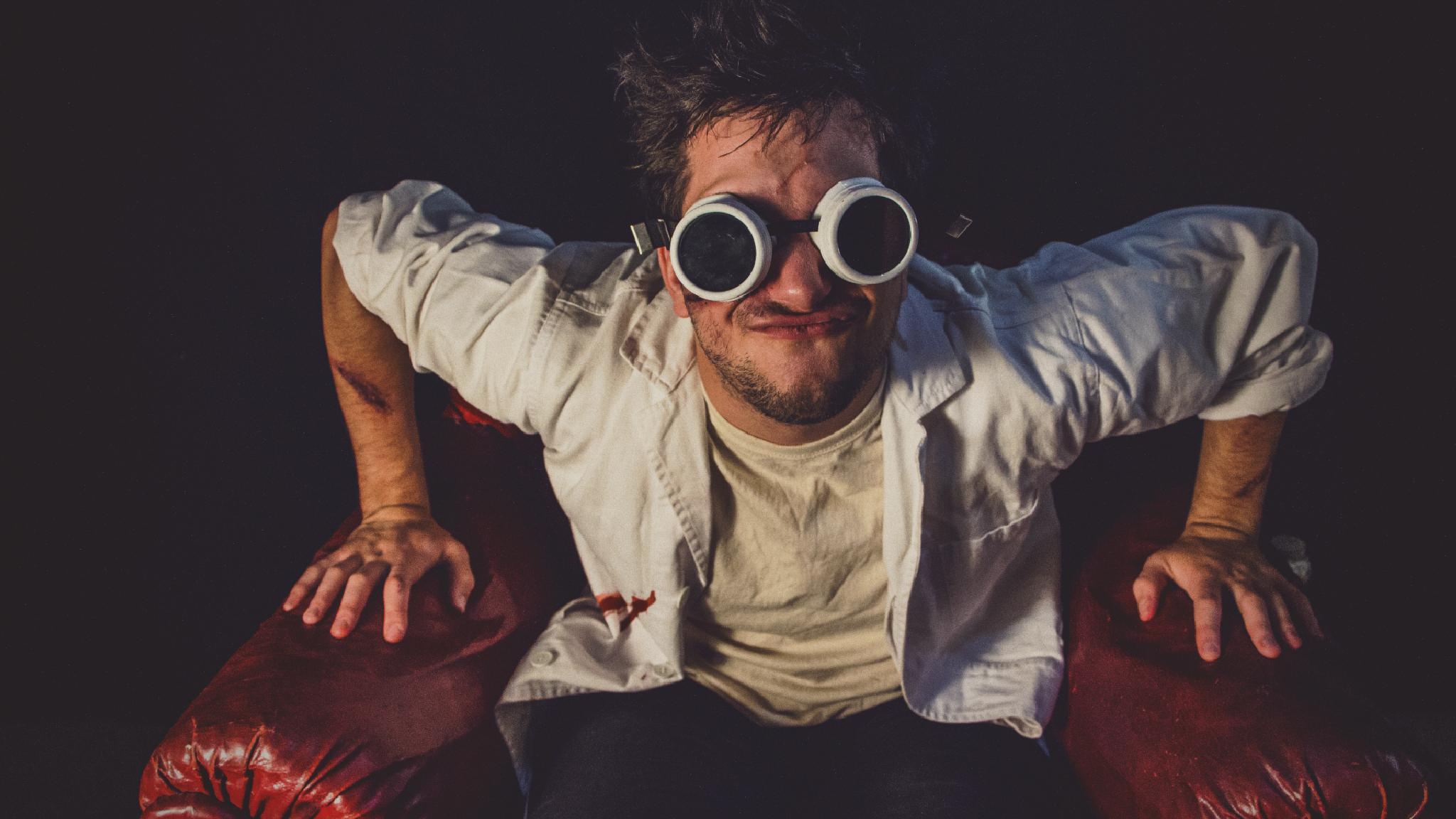 Photo in Portrait #goggles #scientist #mad scientist #doctor #crazy #armchair #red #white