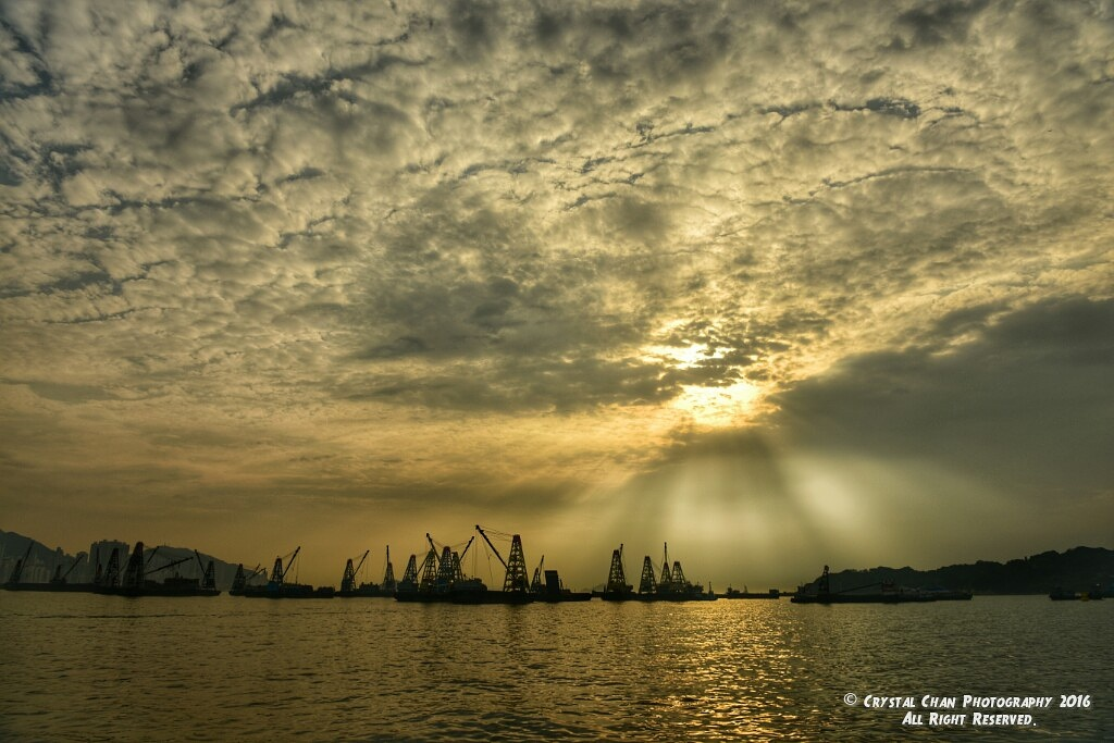 Beautiful Anticrepuscular Ray  by Crystal Chan