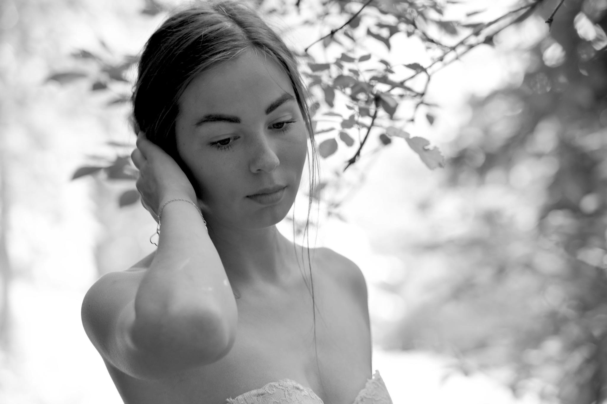 Photo in Portrait #monochrome #outdoor #nature #girl #sensual #beauty #portrait #model #sexy #blackandwhite #people #female #woman #face #amazing