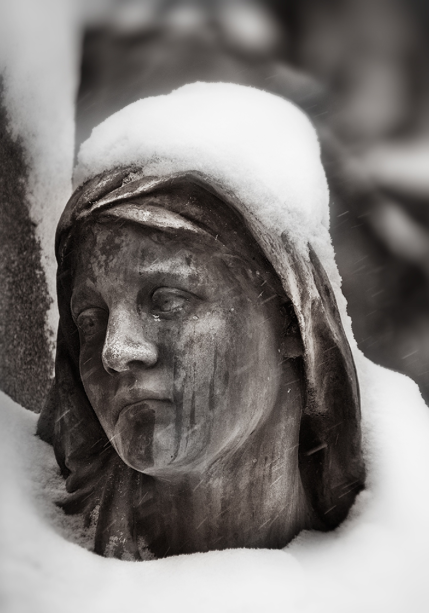 """""""Statue draped in snow"""" by Peter Cohn"""
