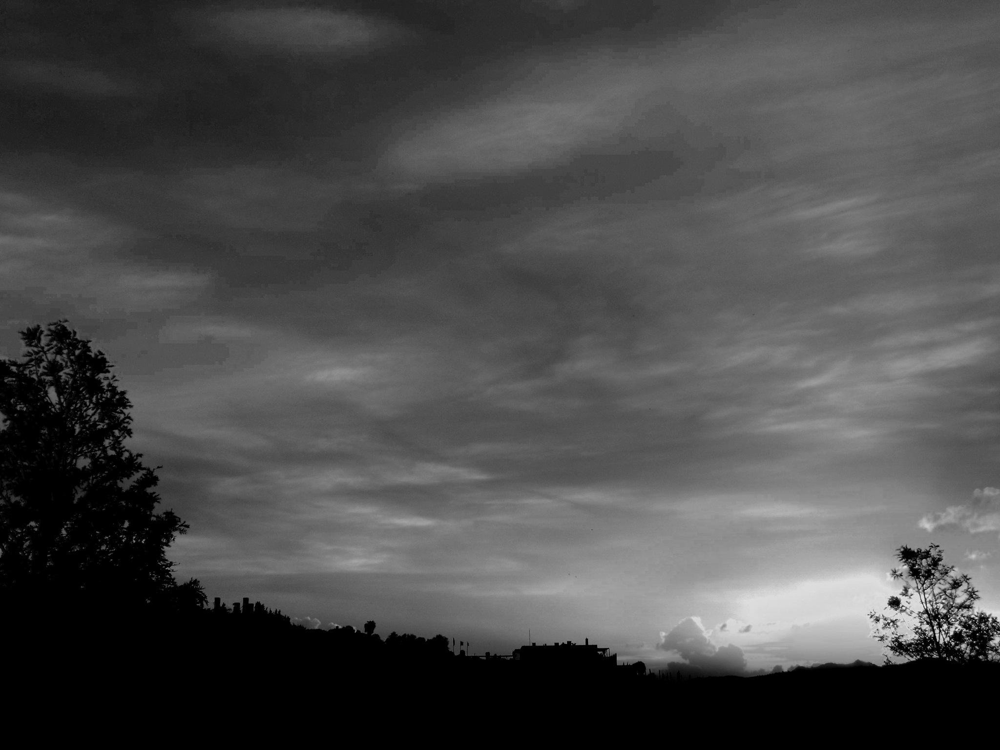 BITEZ SUNSET FROM MY BALCONY, B&W by Akin Saner