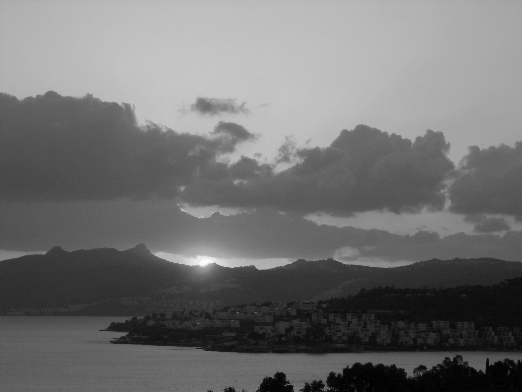 SUNSET OVER THE BITEZ BAY, B&W by Akin Saner