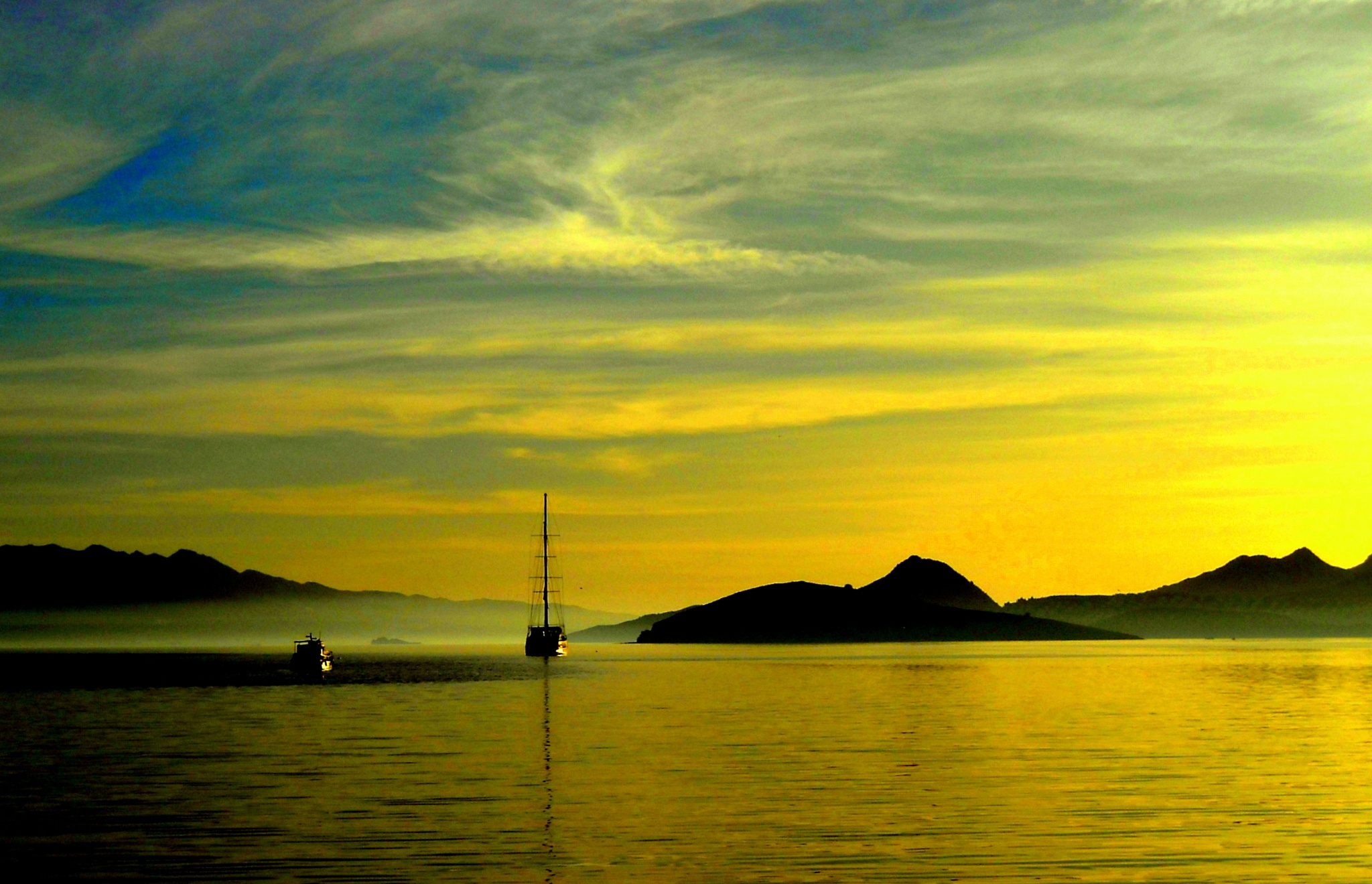 ANOTHER BEAUTIFUL EVENING VIEW OF BITEZ BAY, BODRUM by Akin Saner