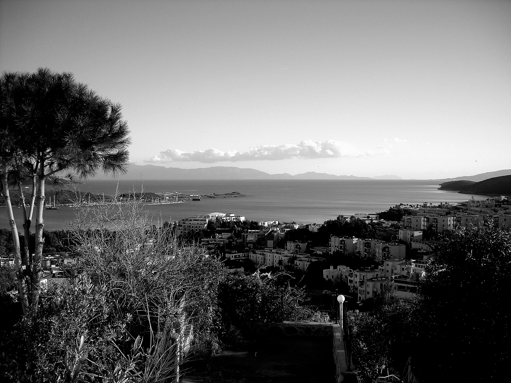 B&W  VIEW  OF GUMBET, BODRUM by Akin Saner