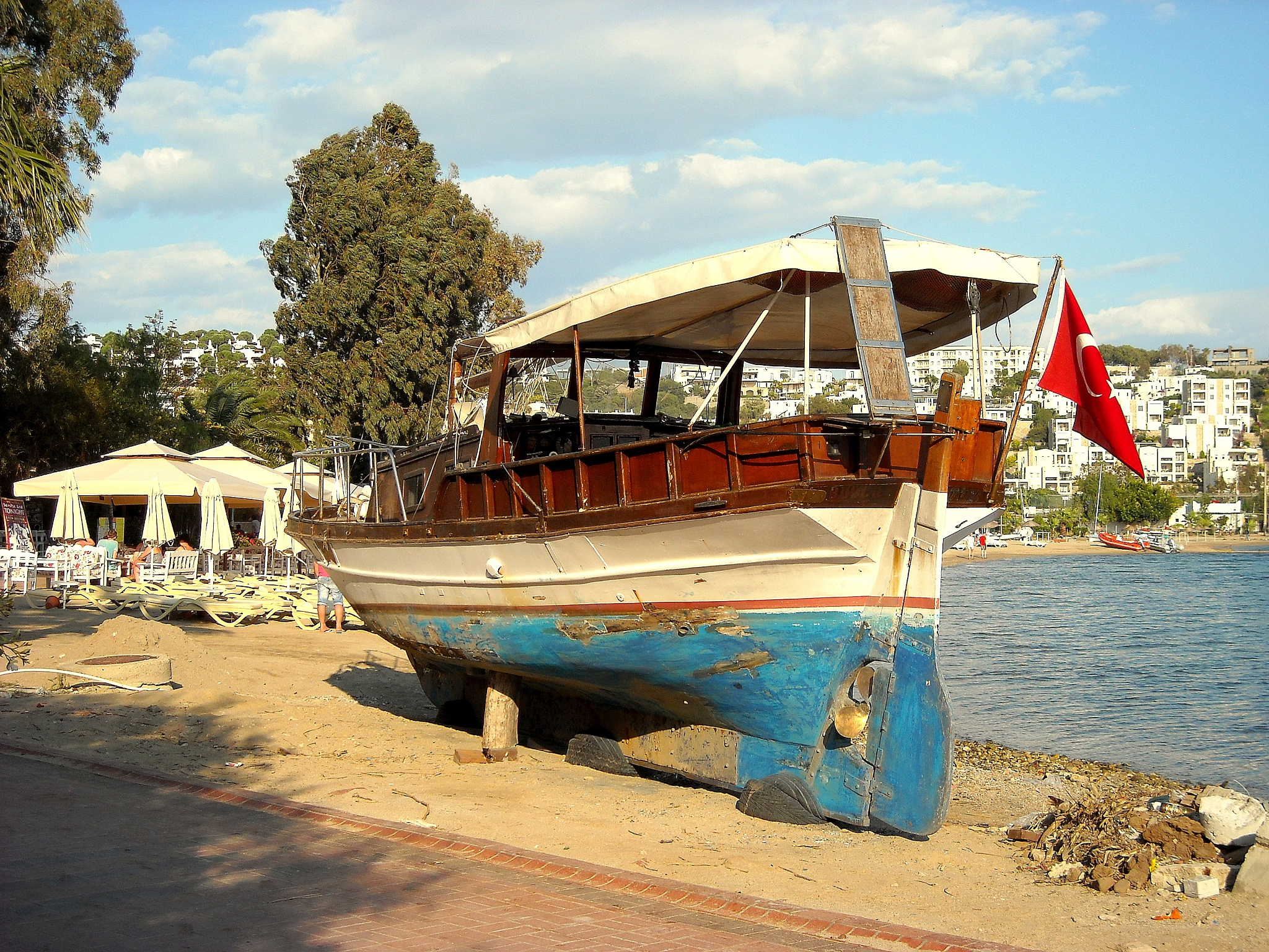 Photo in Sea and Sand #retired old boat #bitez #bodrum #turkey