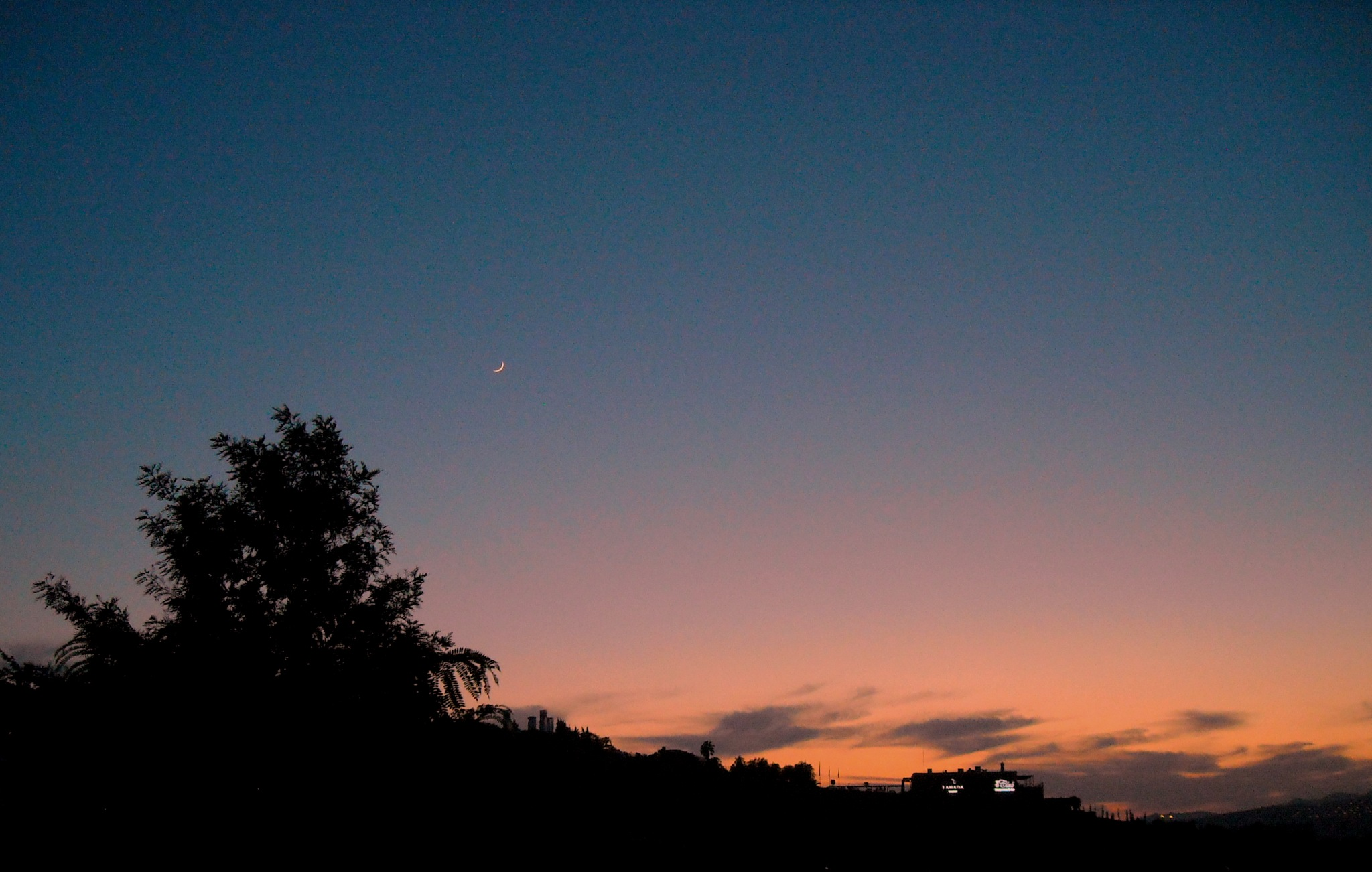 NEW MOON AT SUNSET, FULL SCREEN by Akin Saner