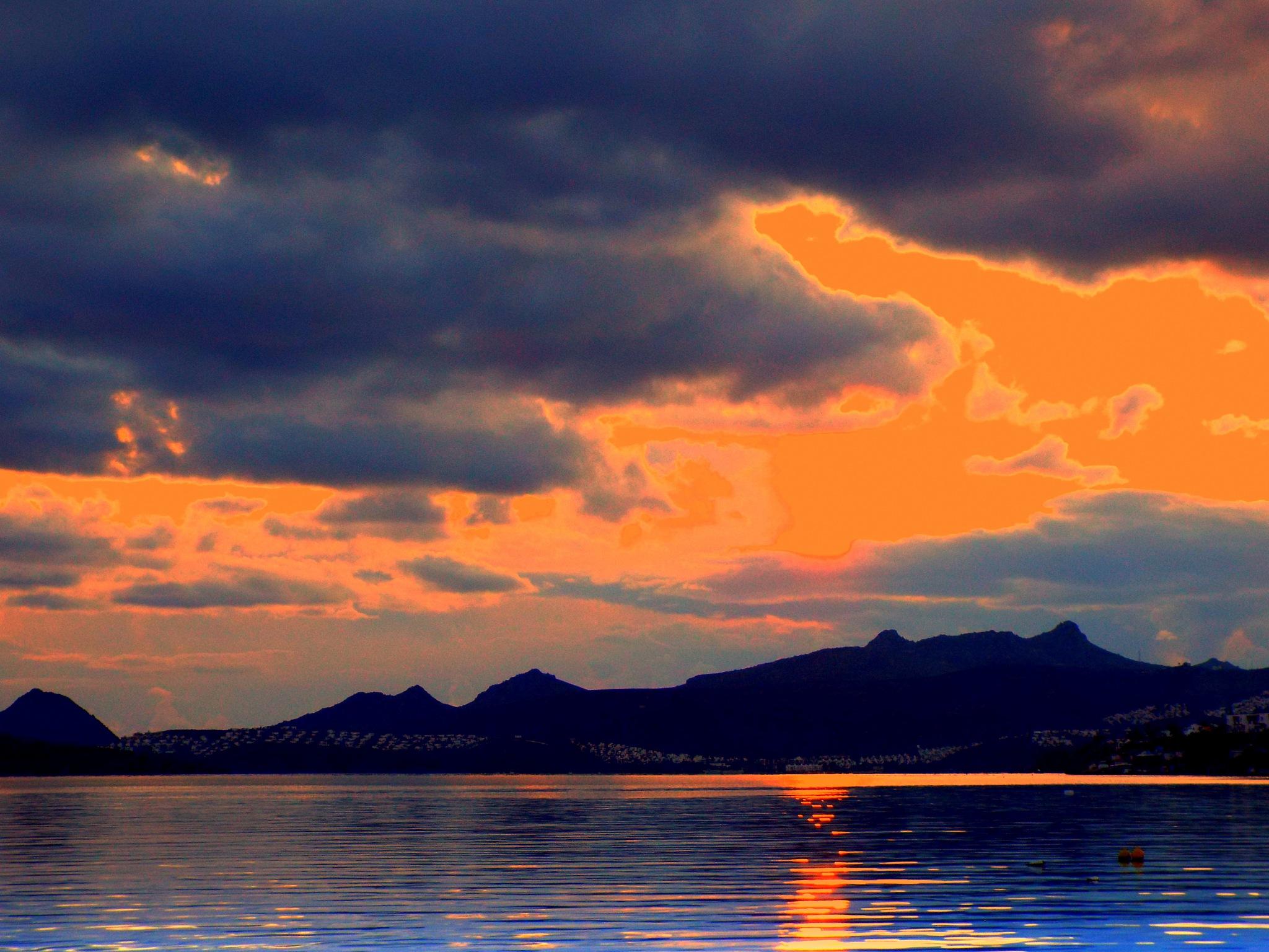 Photo in Landscape #good night from bodrum #bitez bay #bitez #bodrum #sunset