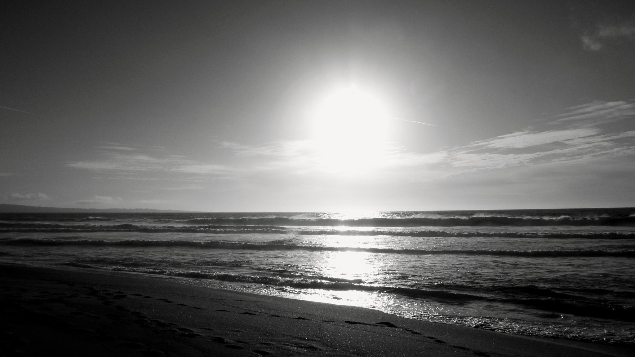 SUNSET AT PACIFIC OCEAN, B&W, FULL SCREEN by Akin Saner