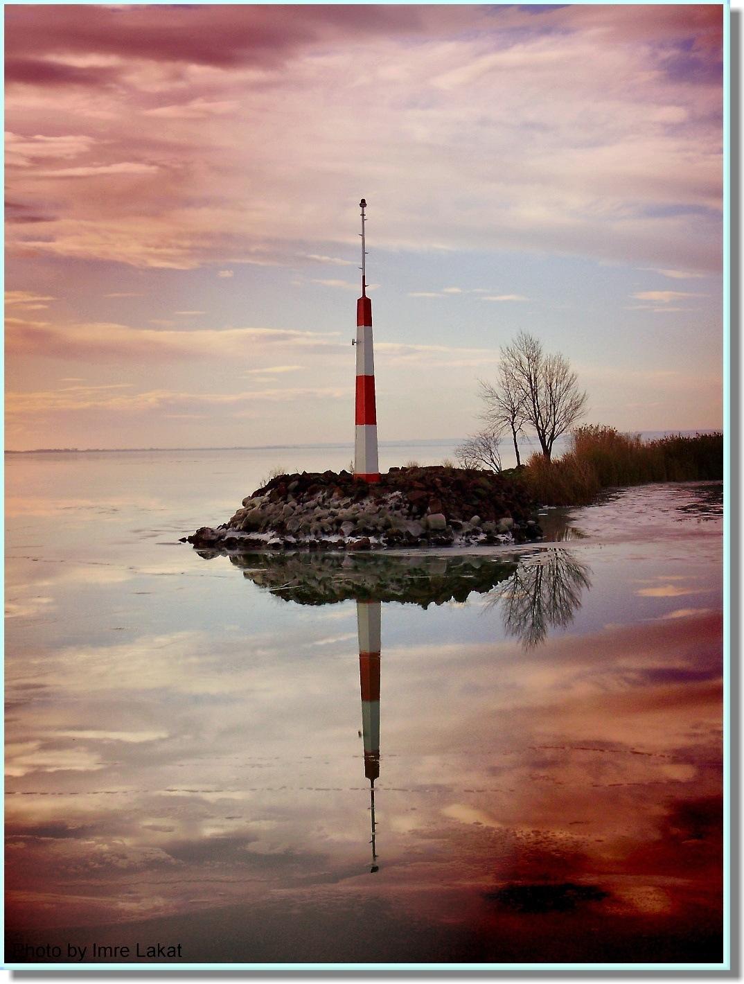 Winter in Balaton lake by Imre Lakat