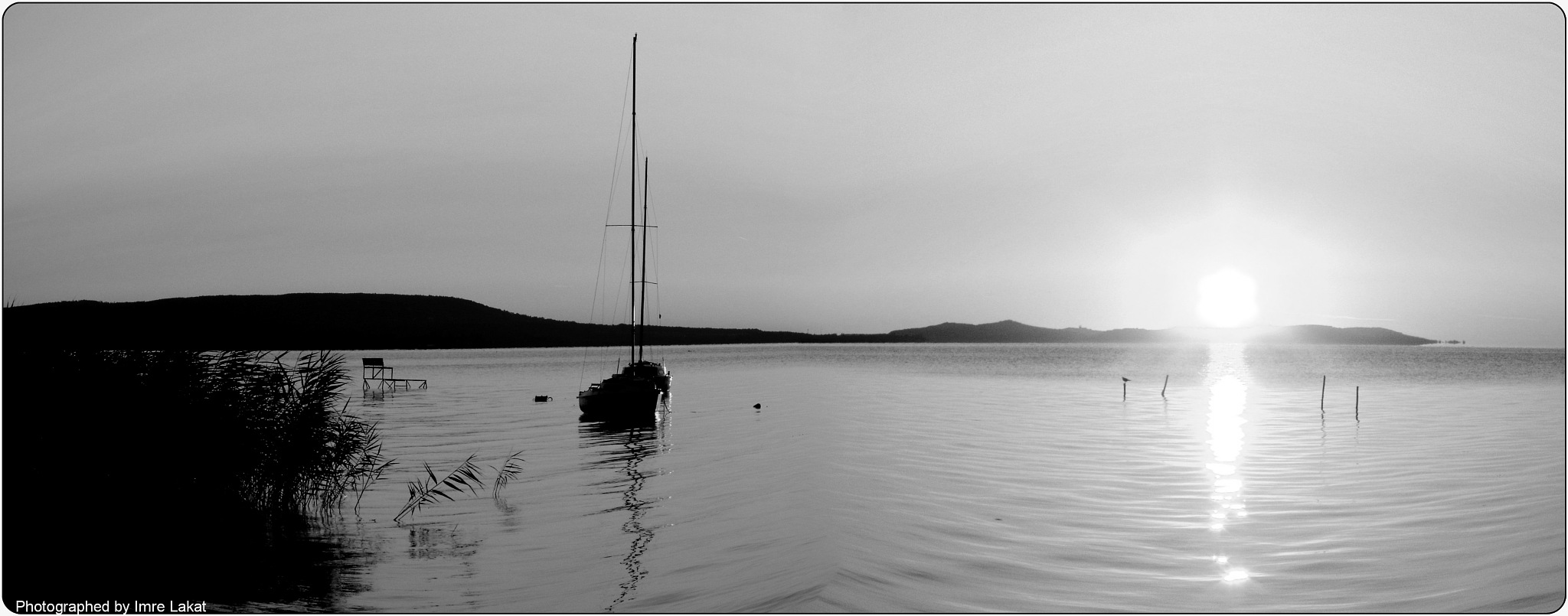 Sunrise of Balaton lake B&W  by Imre Lakat