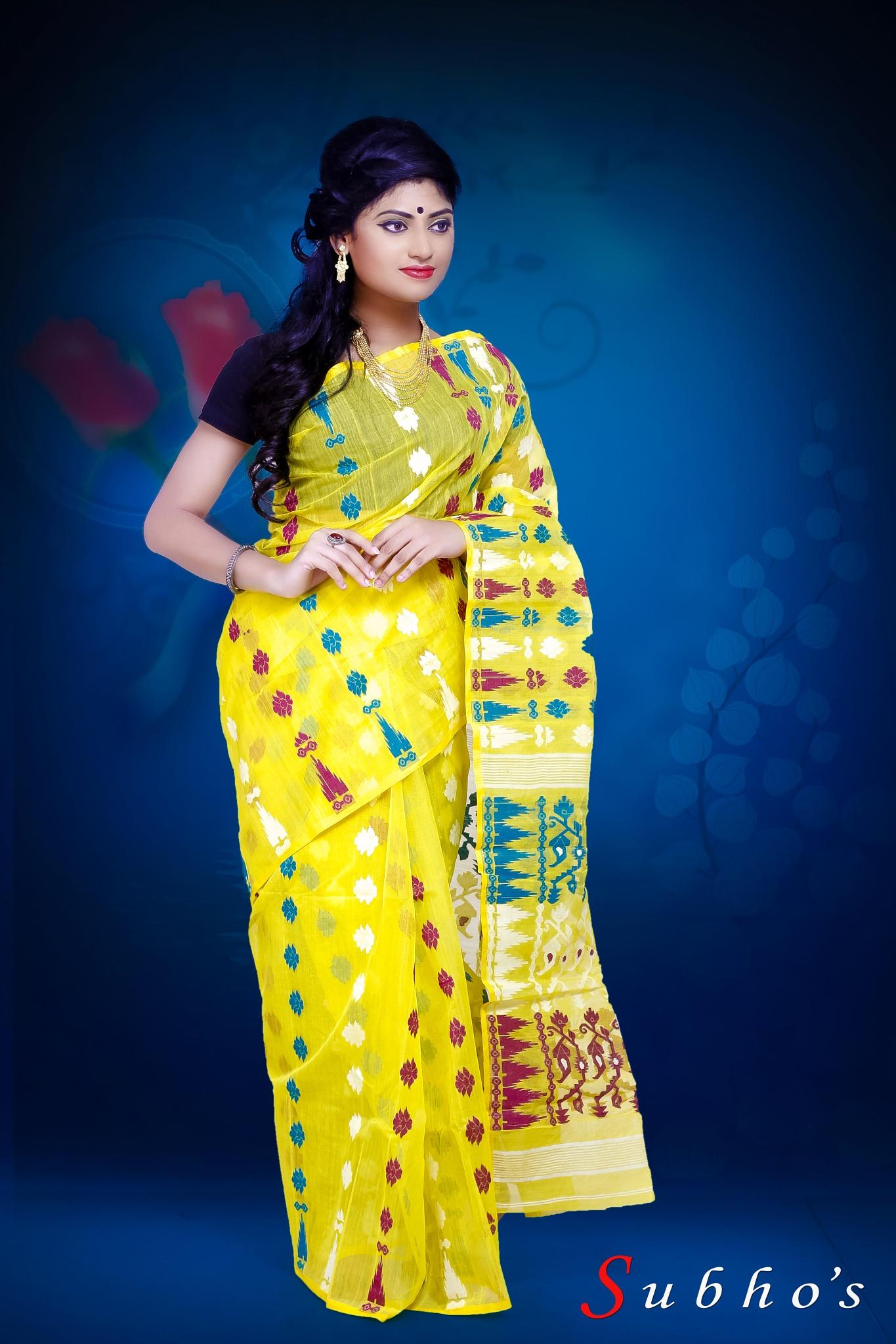 Raima in yellow saree by subhankarbittu