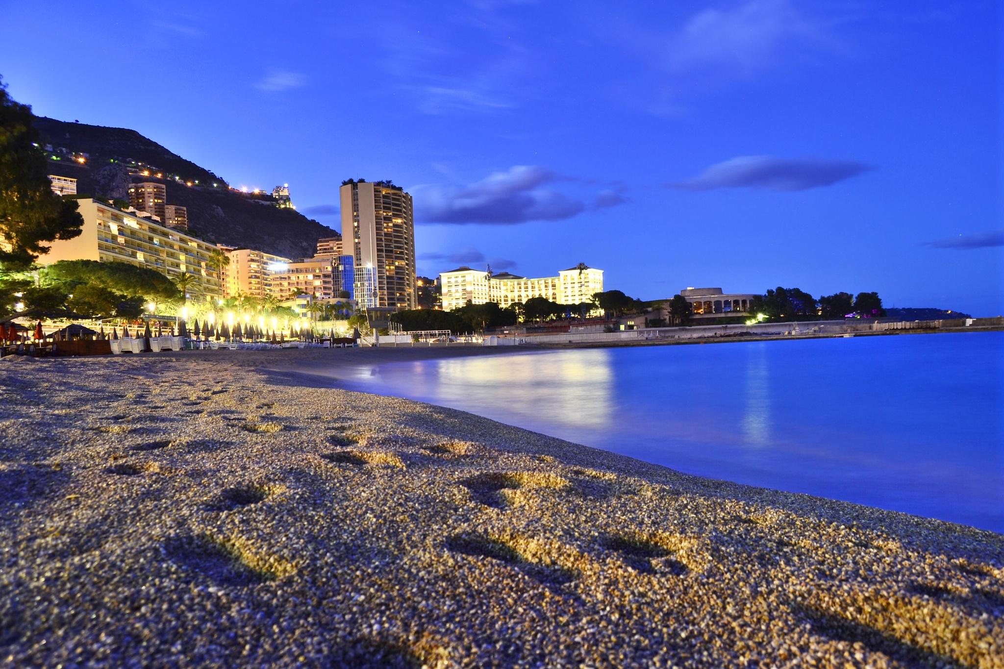 Monaco beach shortly after sunset by Aleksey Zaharinov