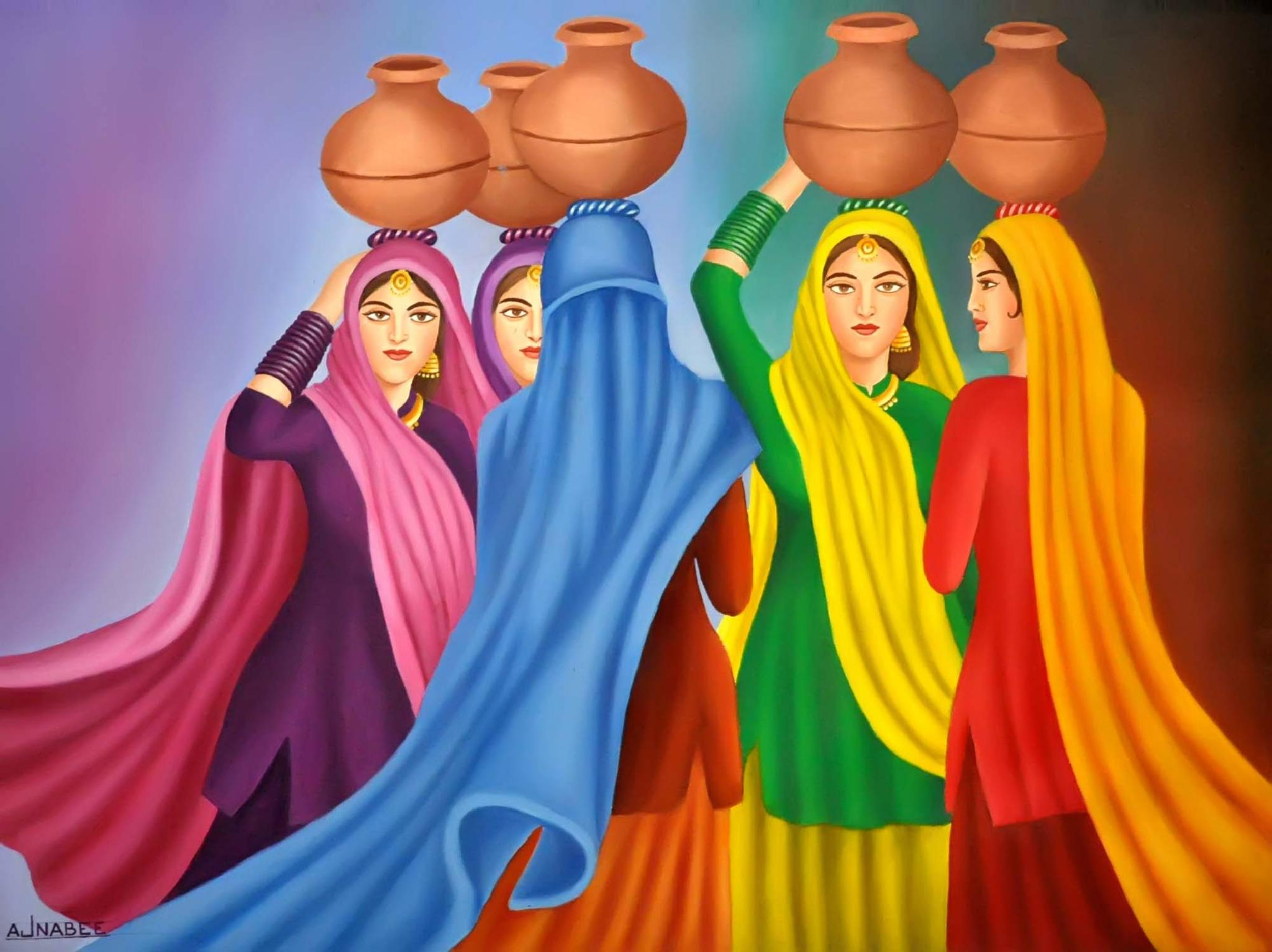 BEAUTY OF PUNJAB ( OIL PAINTING ) by devinderajnabee